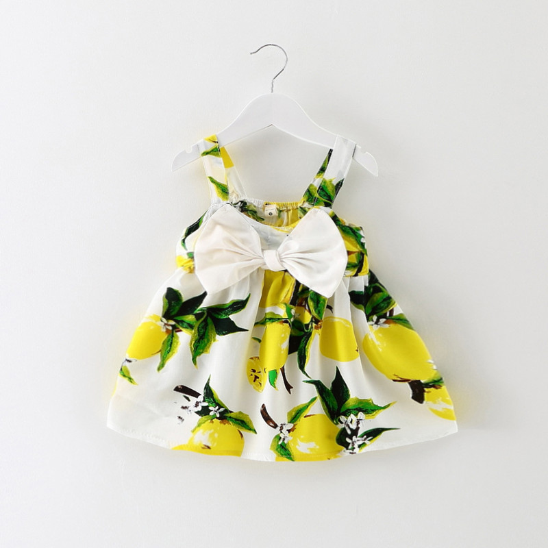 31001373a Baby Girl Newborn Toddler Infant Lemon Fruit Print Summer Sleeveless Dress  Bow Pink Yellow Clothes 0