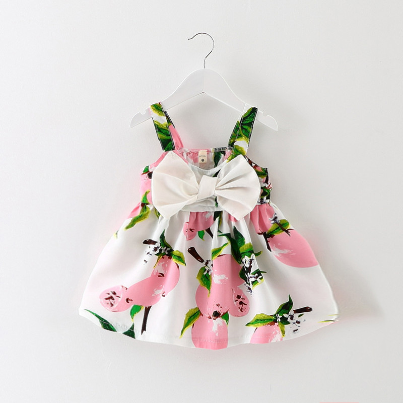 e632f1e46d34 Baby Girl Newborn Toddler Infant Lemon Fruit Print Summer Sleeveless Dress  Bow Pink Yellow Clothes 0