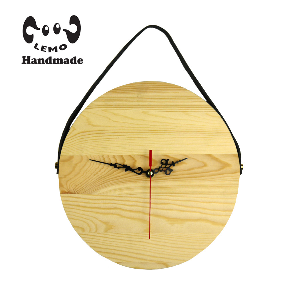 Handmade Unfinished Wooden Round Hanging Clock With Leather belt ...