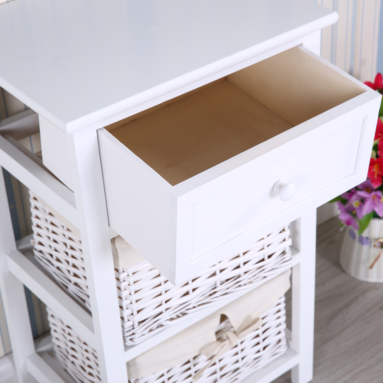 white tall wooden shabby chic wicker cabinet storage w 2 baskets drawer bedroom ebay. Black Bedroom Furniture Sets. Home Design Ideas