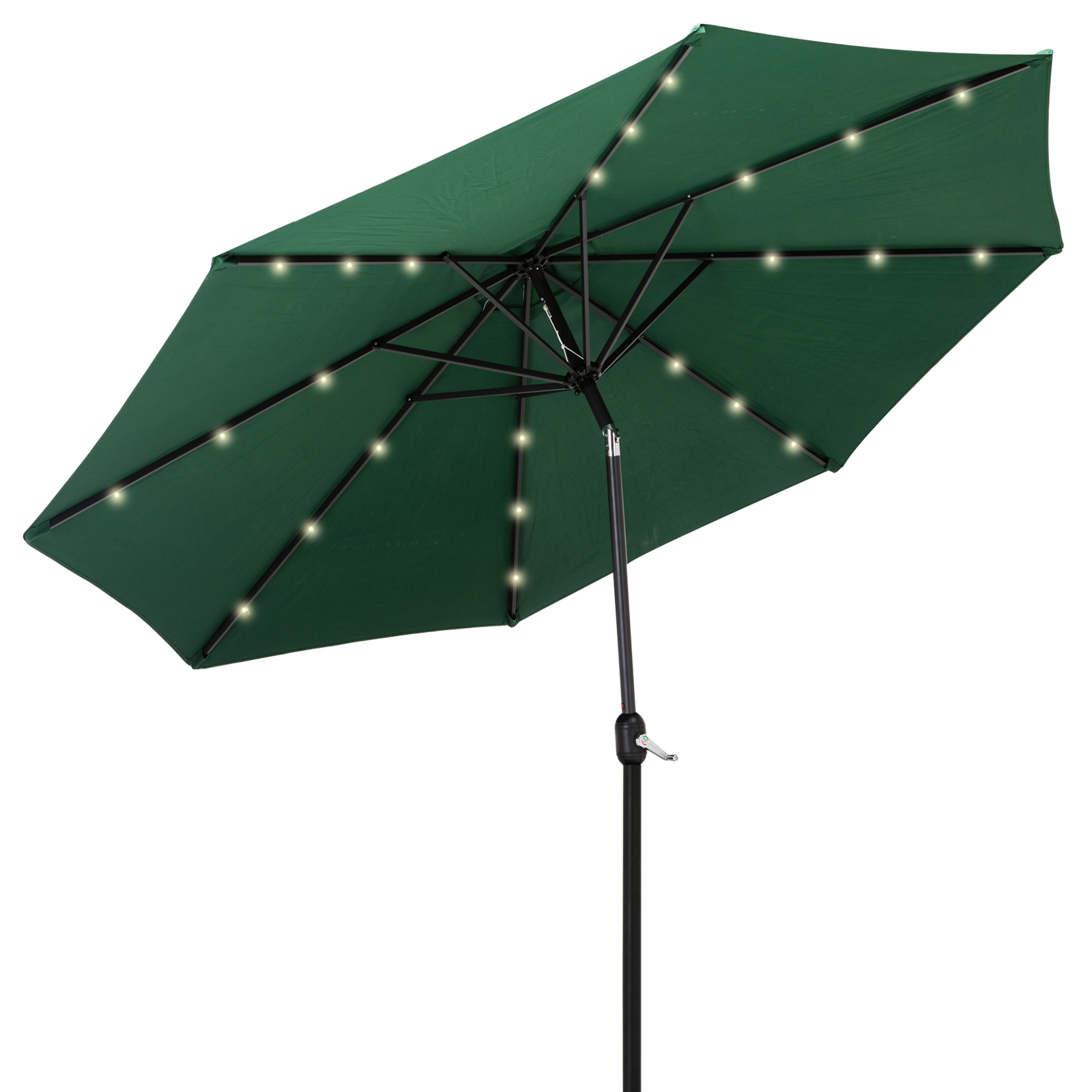 10ft Solar Led Patio Sun Shade Umbrella Tilt W Crank