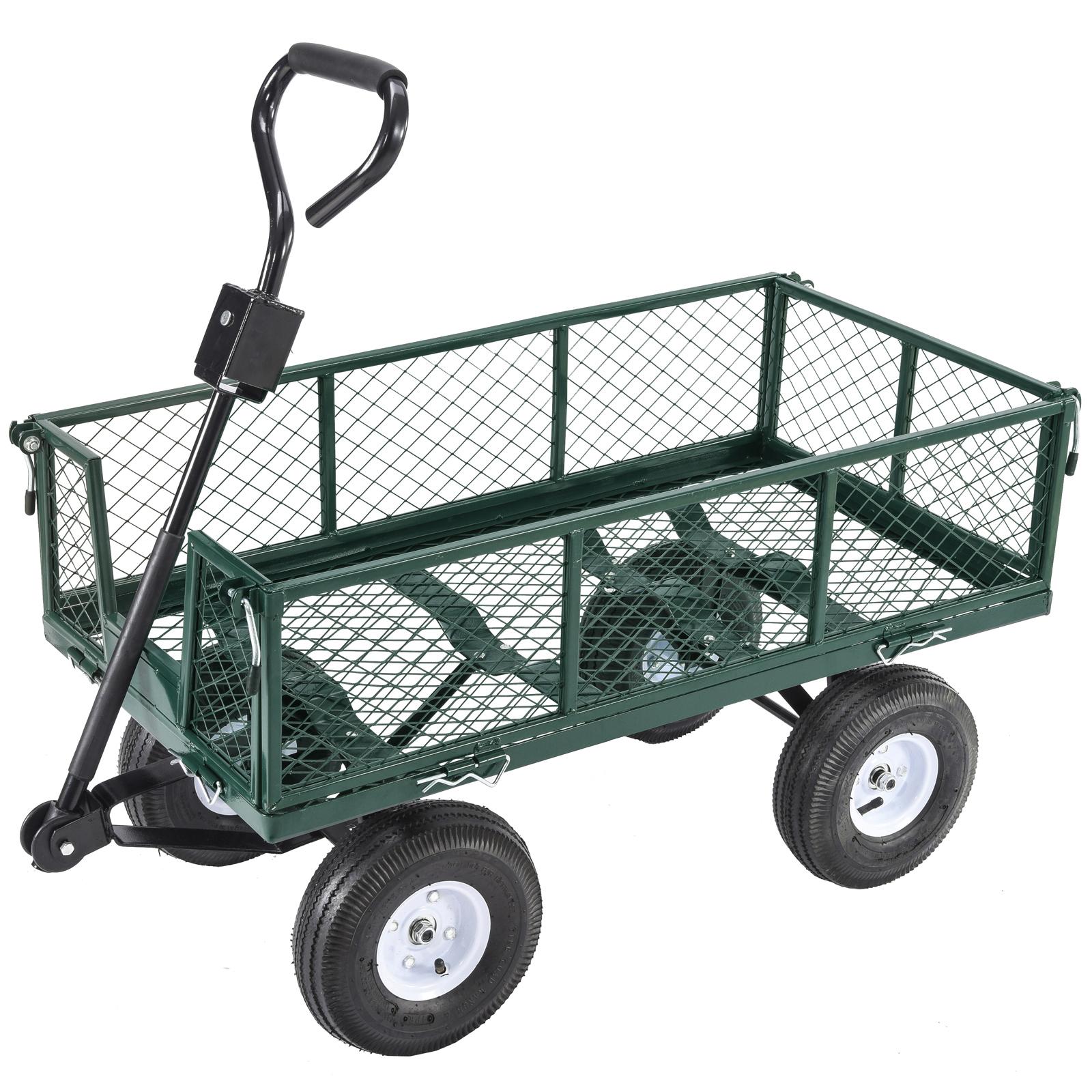 Metal Utility Cart: Heavy Duty Utility Wheelbarrow Wagon Cart Lawn Dump