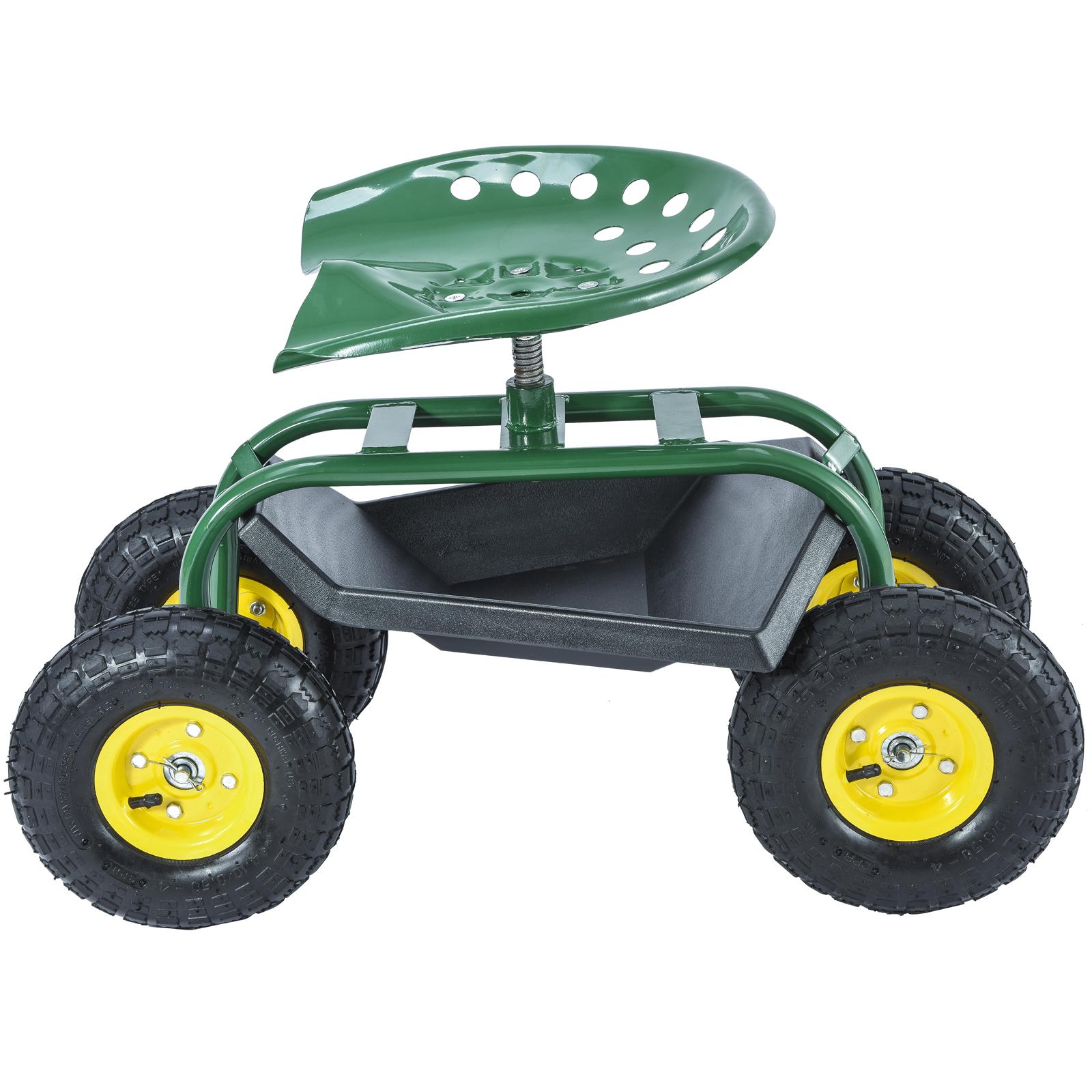 Green Rolling Garden Cart Work Seat W Heavy Duty Tool Tray Planting Gardening Ebay