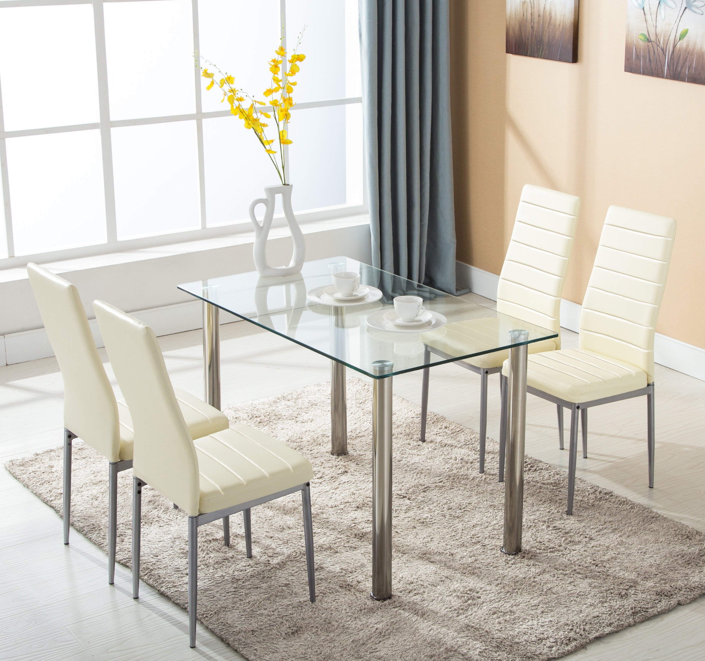Glass Dining Table Set: 5 Piece Dining Table Set W/4 Chairs Glass Metal Kitchen