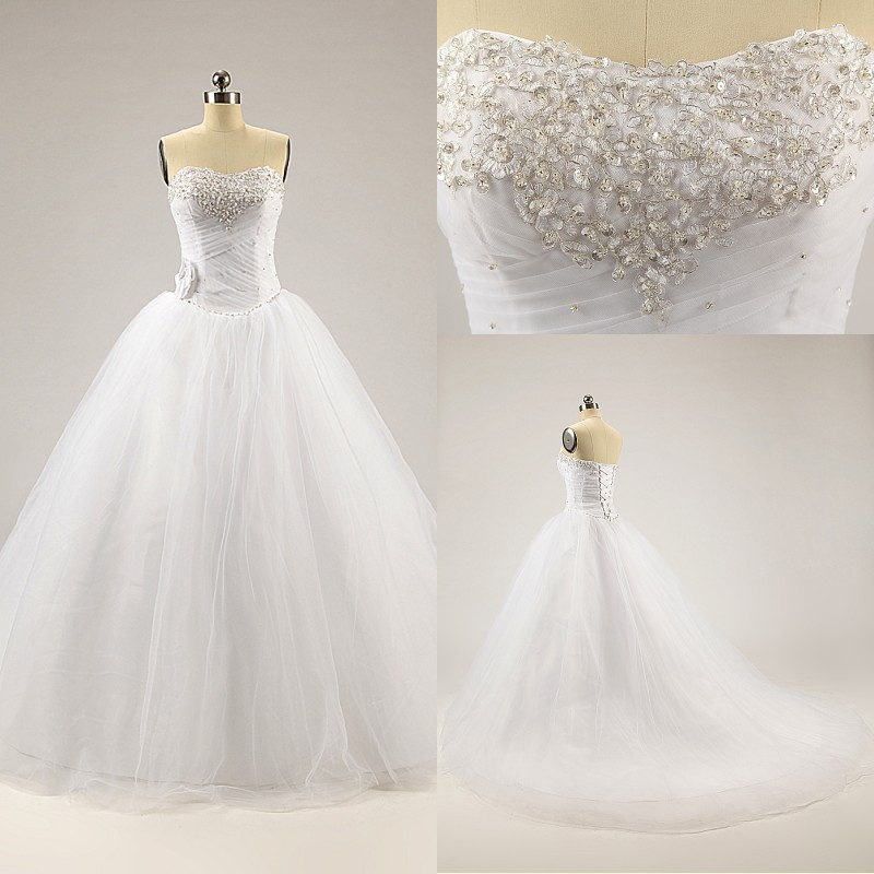 Cheap white ivory beaded strapless ball gown tulle corset for Strapless corsets for under wedding dresses