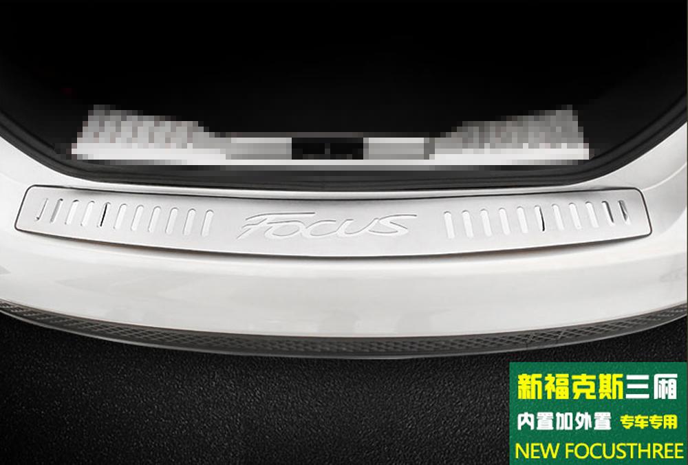 ford focus hatchback 2012 2016 chrome rear bumper sill cover protector trim. Black Bedroom Furniture Sets. Home Design Ideas