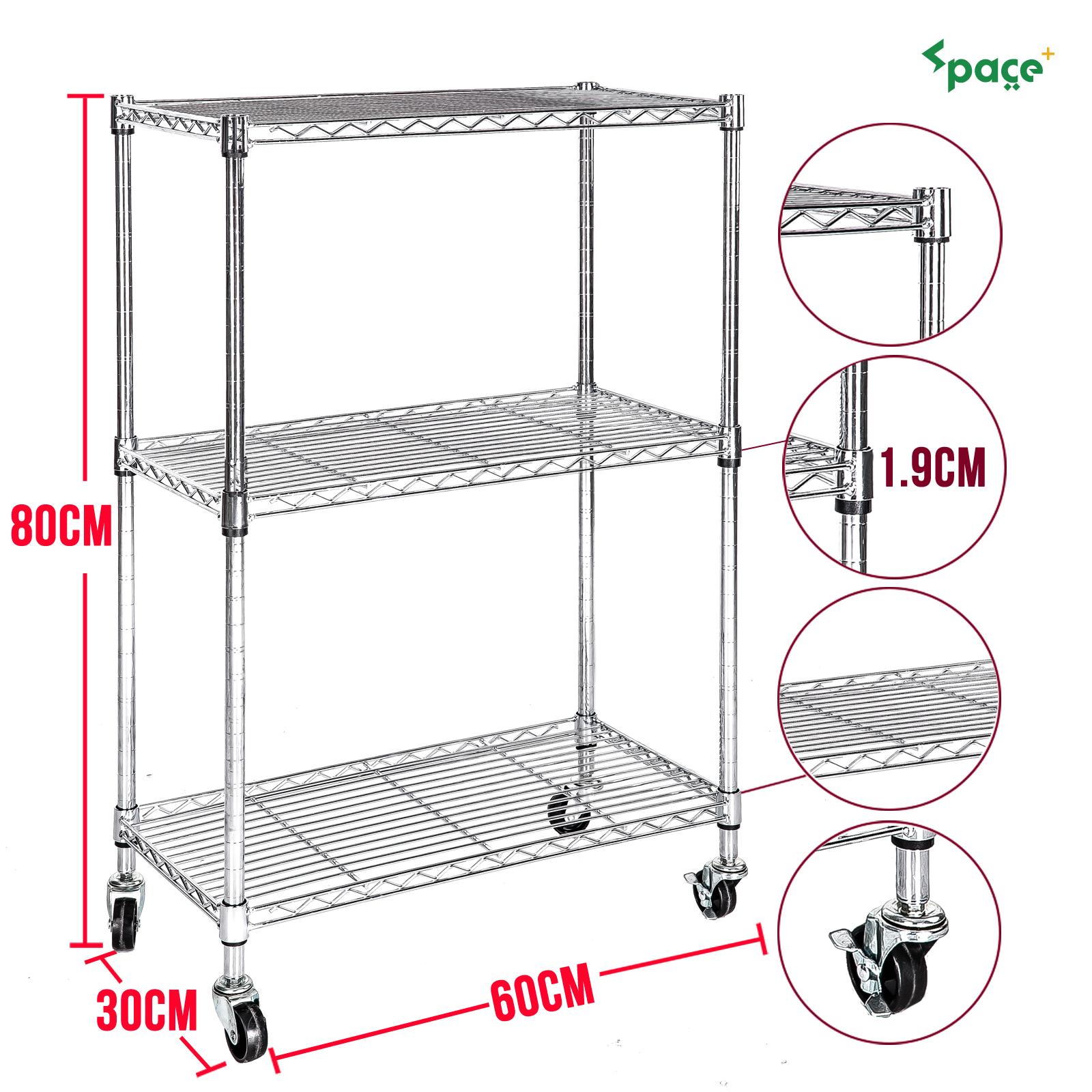 chrome 3 tier wire shelving rack cart unit w casters shelf. Black Bedroom Furniture Sets. Home Design Ideas