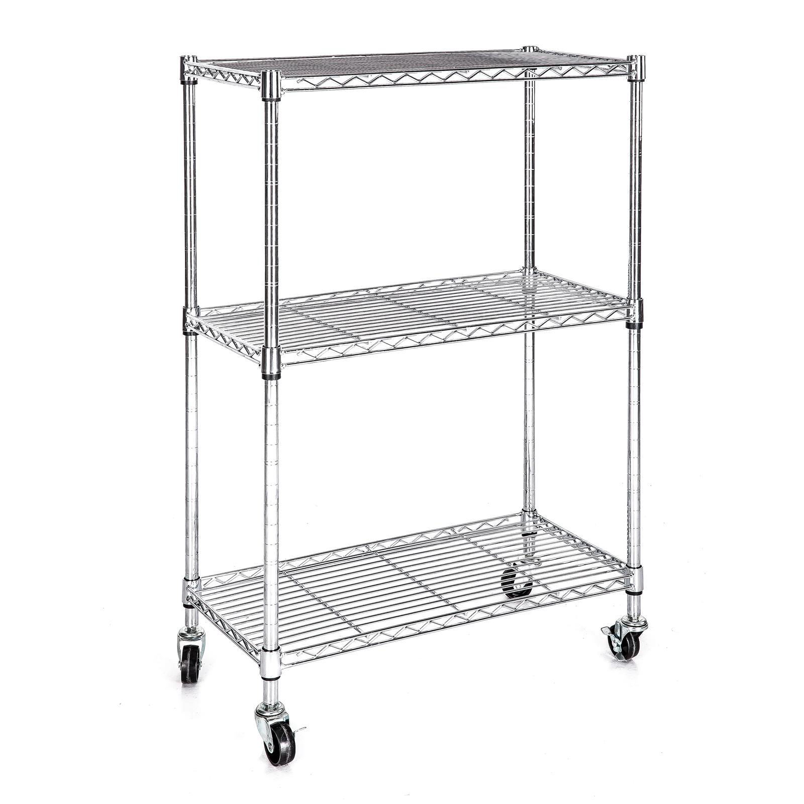heavy duty chrome 3 tier wire shelving rack cart unit w. Black Bedroom Furniture Sets. Home Design Ideas