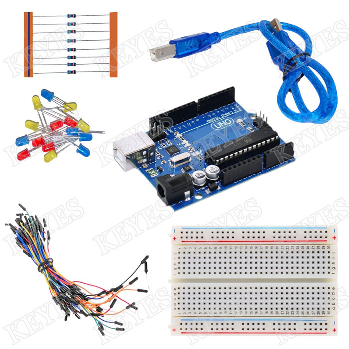 new basic starter kit uno r3 breadboard led jumper wire cable for arduino ebay. Black Bedroom Furniture Sets. Home Design Ideas