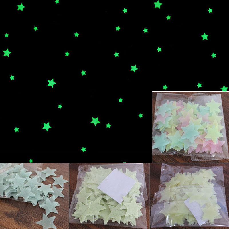 100pcs Home Wall Sticker Glow In The Dark Star Decal For Baby Kids