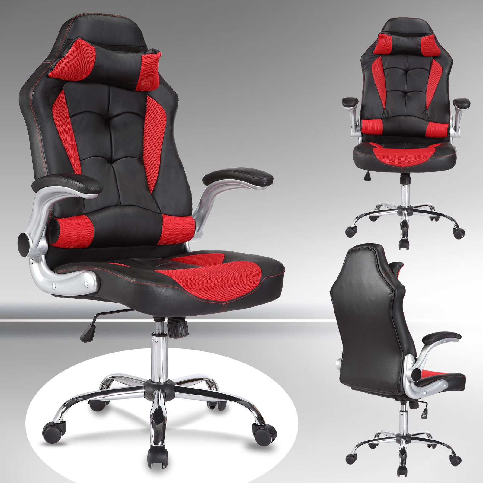 uenjoy gaming stuhl racing leder b rostuhl chefsessel schreibtischstuhl rot ebay. Black Bedroom Furniture Sets. Home Design Ideas