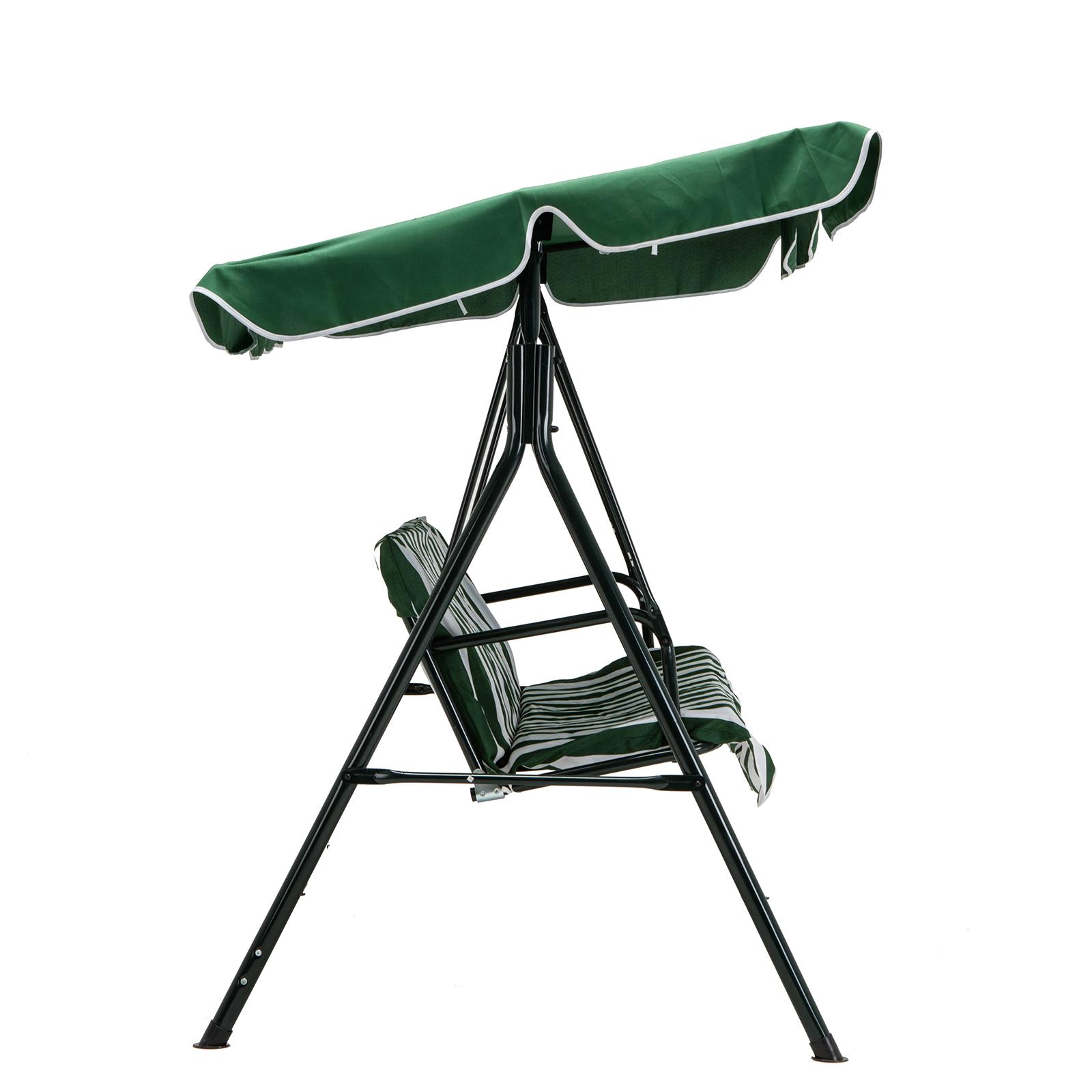 Green Outdoor 3 Seats Patio Canopy Swing Glider Hammock ...