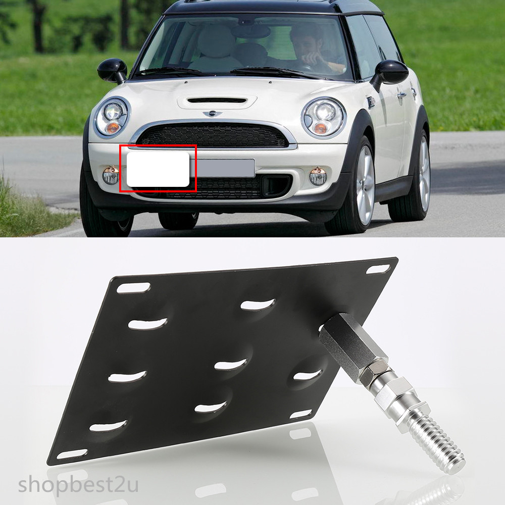 Front Tow Hook Bumper License Plate Mounting Bracket For