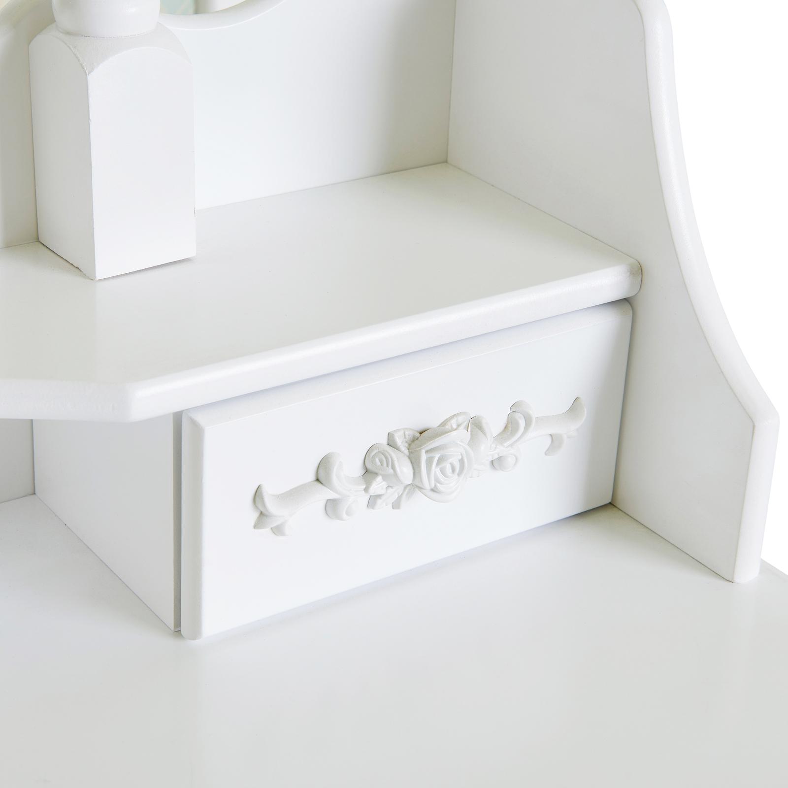 White Vanity Wood Desk Makeup Dressing Table Set W Stool