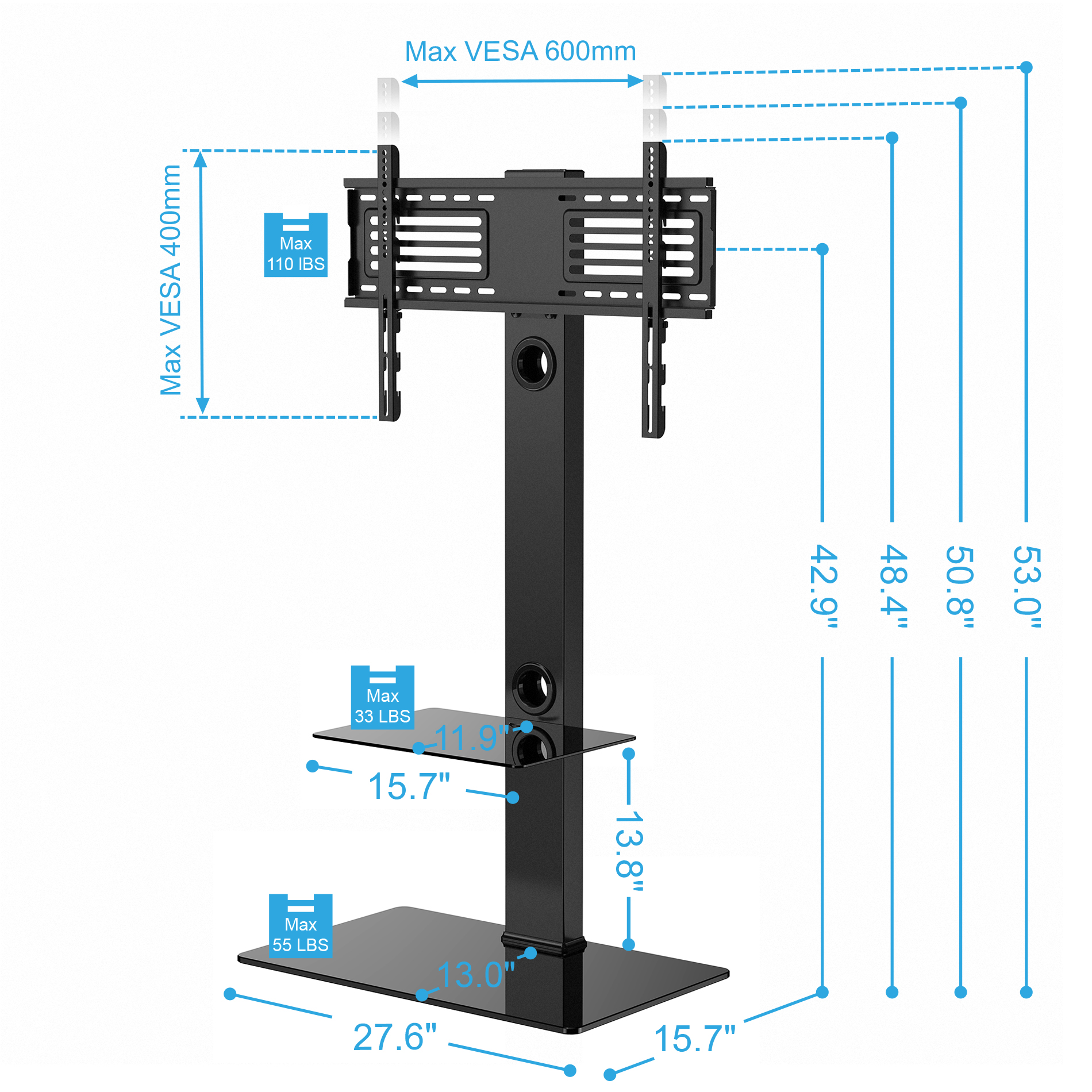 fitueyes flat screen panel tv stands with mount shelves for 32 50 55 60 65 ebay. Black Bedroom Furniture Sets. Home Design Ideas