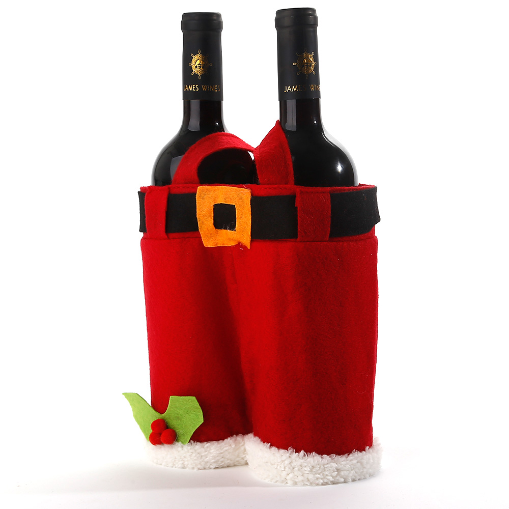 Xmas santa claus wine bottle cover bag christmas dinner for Decor 750ml
