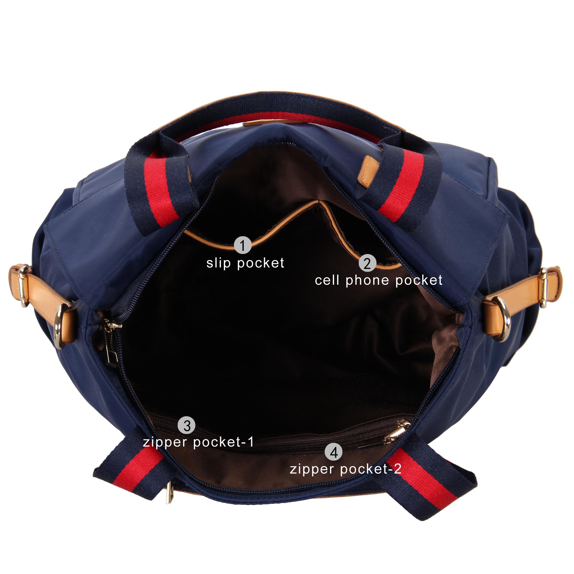 Women Large Waterproof Nylon Tote Bag & Multiple Pocket Design ...