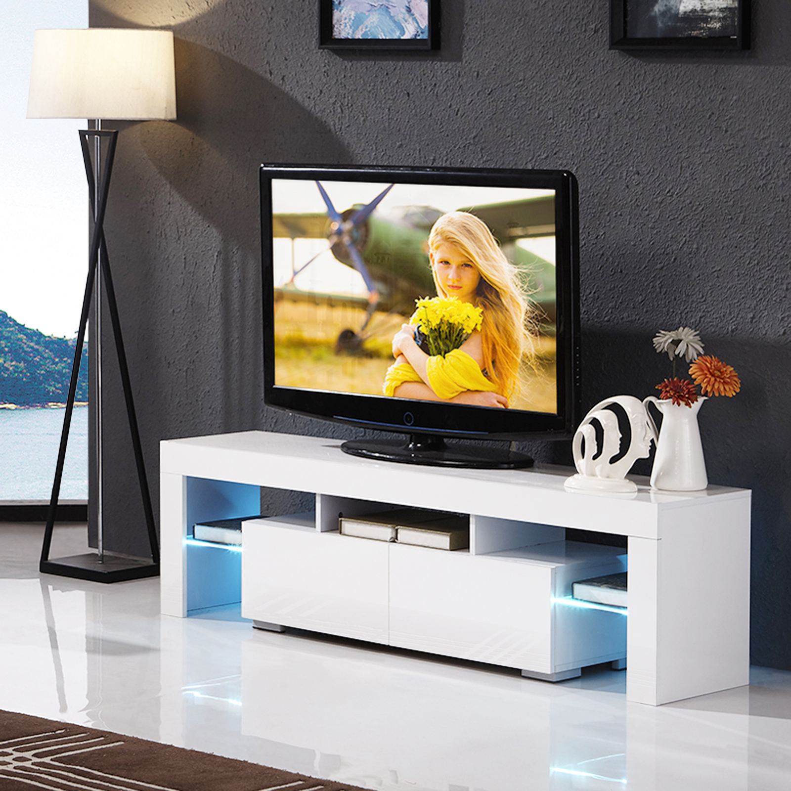 High Gloss White Tv Stand Unit Cabinet W Led Shelves 2