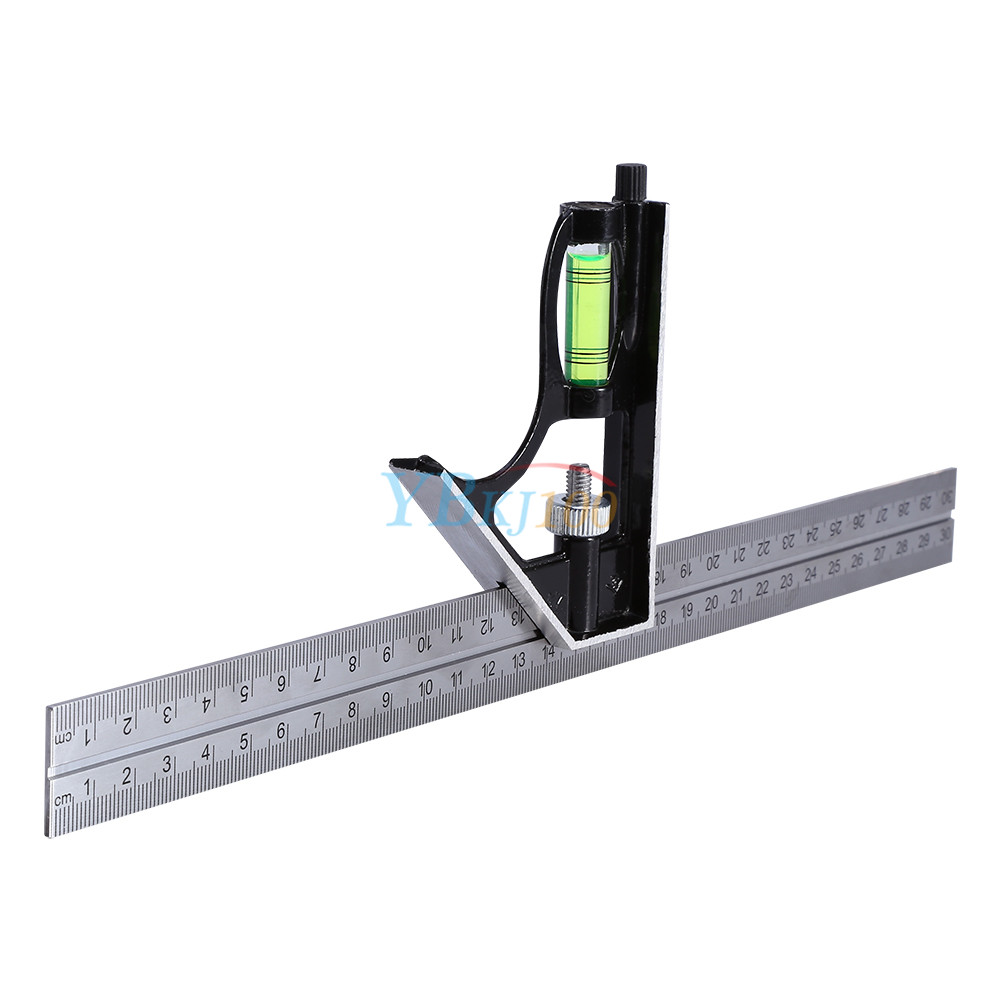 Adjustable Combination Square Angle Ruler Stainless Steel Measuring Tool Meter