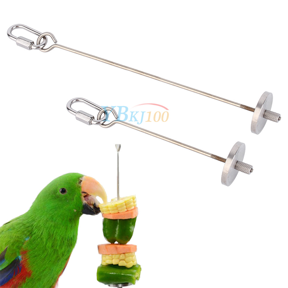 4 7 7 8 stainless steel skewer toy treat bird parrot for Bird food holder
