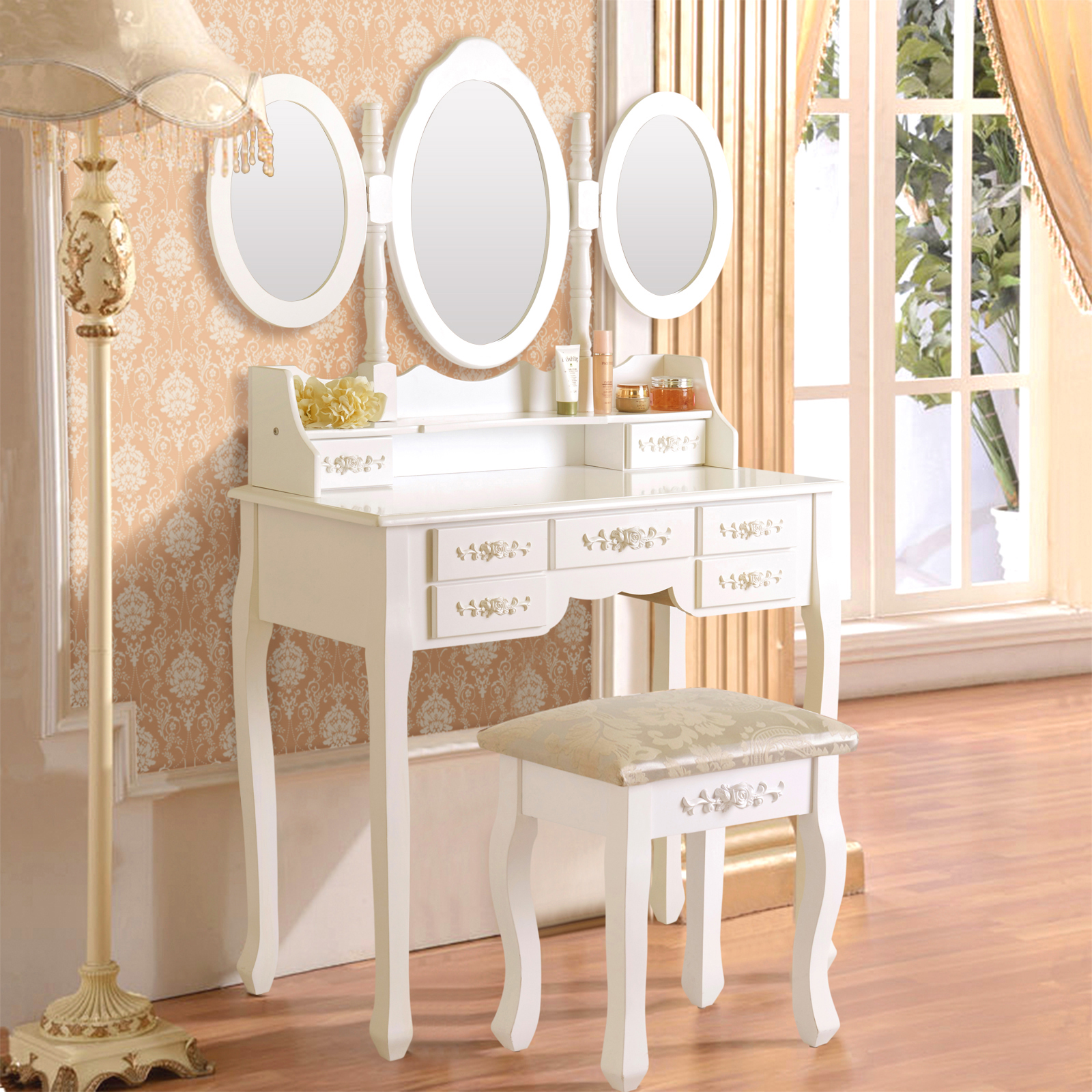 White Vanity Makeup Table Dressing Wood Desk Set With