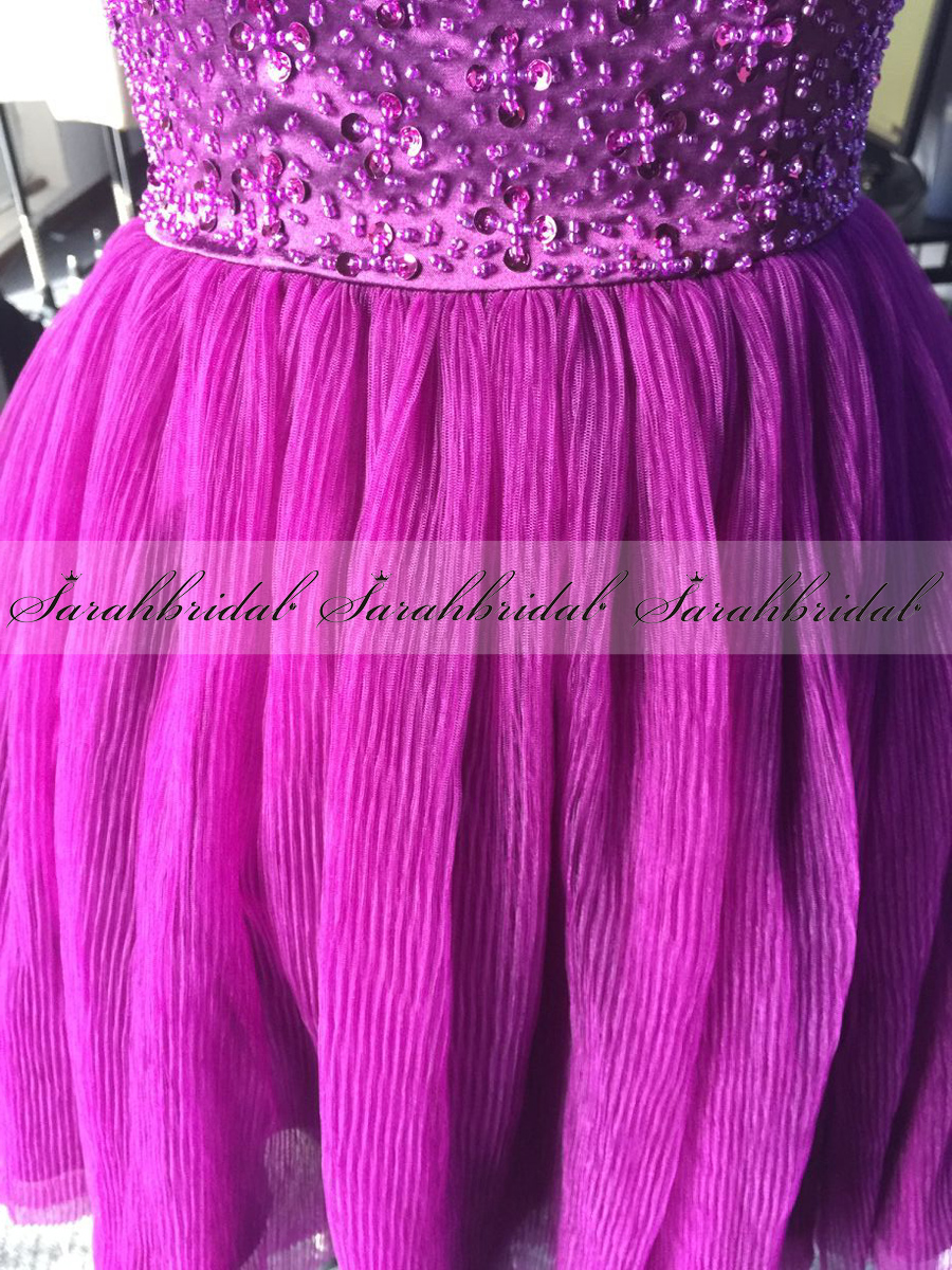 US Stock Beaded Purple Cocktail Prom Party Dress Celebrity ...