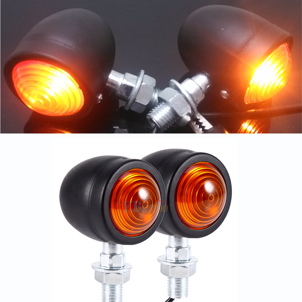 pair of black metal motorcycle cafe racer turn signal indicator