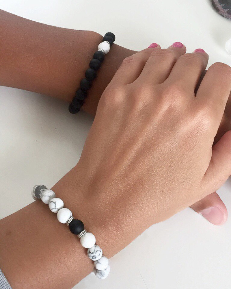 Couples Bracelets Yin Yang Matte Agate White Howlite Beaded ...