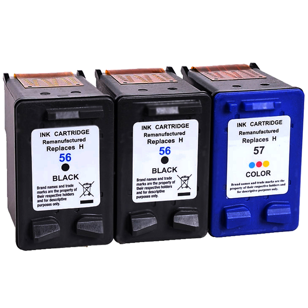 3 pk for hp 56 57 black color ink cartridge for officejet 5500 5505 5510 5600 ebay. Black Bedroom Furniture Sets. Home Design Ideas