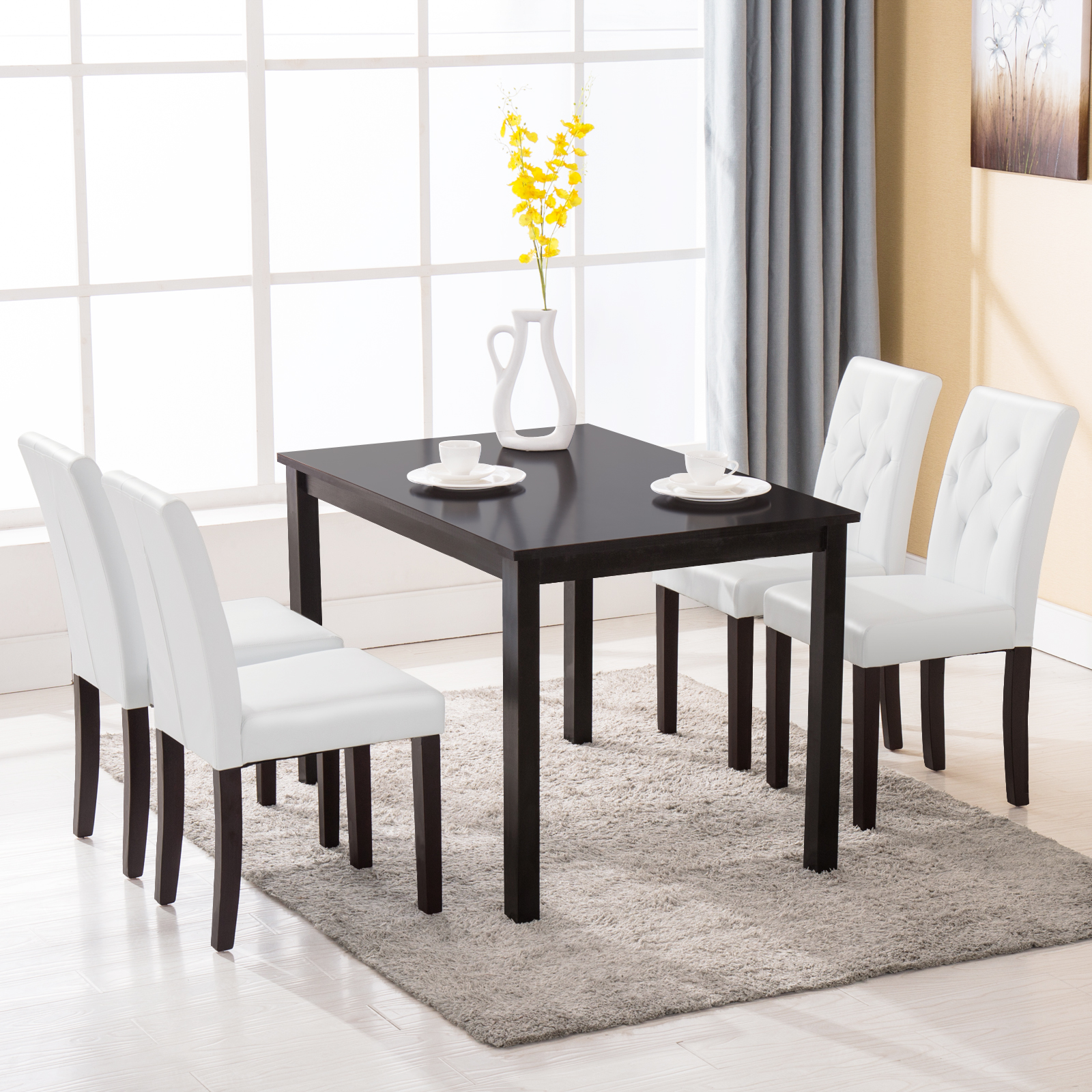 5 piece wood white dining table set 4 chairs room kitchen for 4 dining room chairs ebay