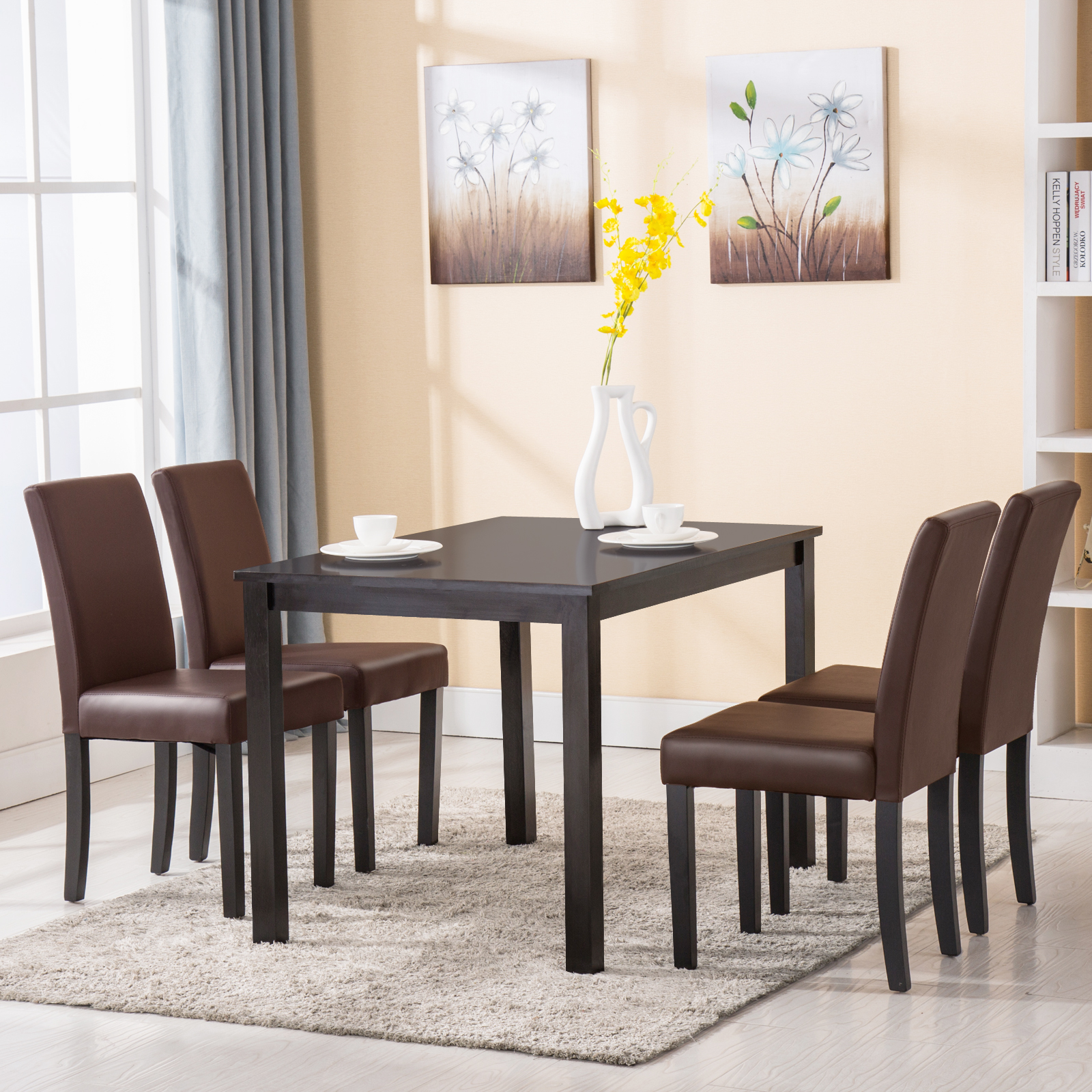 4 Chairs In Dining Room: 5 Piece Wood Dining Table Set 4 Chairs Kitchen Dinette
