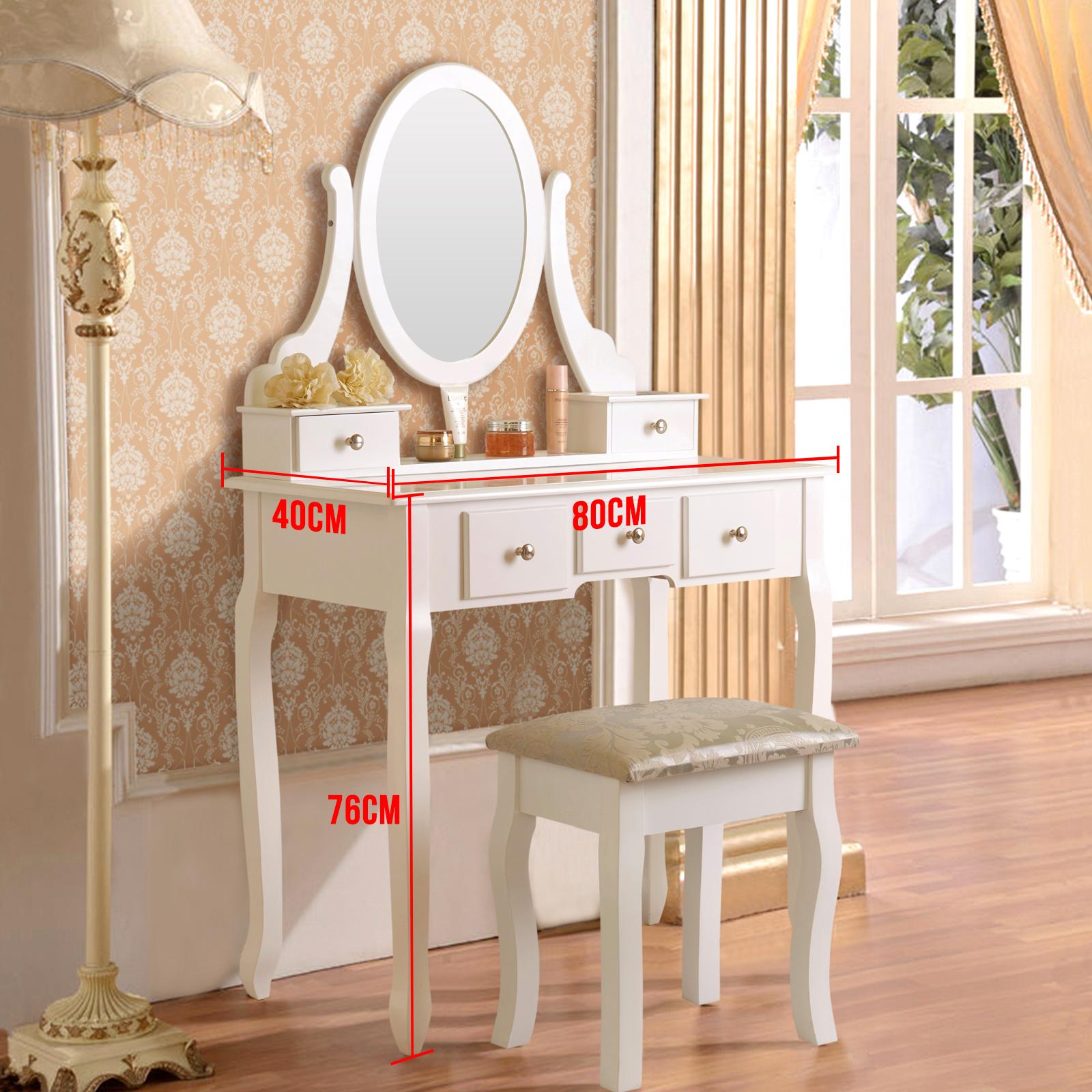 uenjoy schminktisch wei kosmetiktisch mit hocker spiegel 5 schubladen ebay. Black Bedroom Furniture Sets. Home Design Ideas