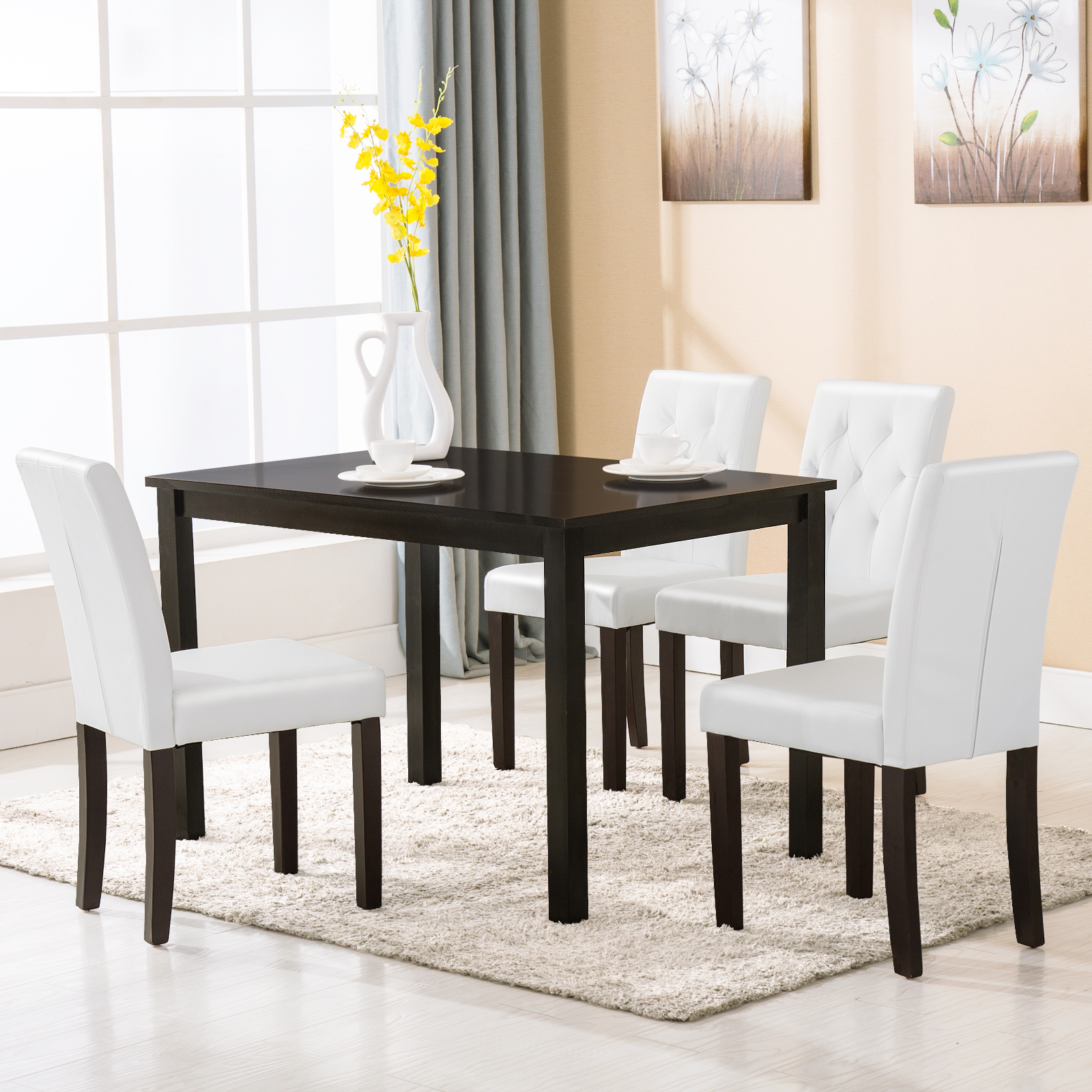 Ebay Furniture Dining Room: 5 Piece Wood White Dining Table Set 4 Chairs Room Kitchen