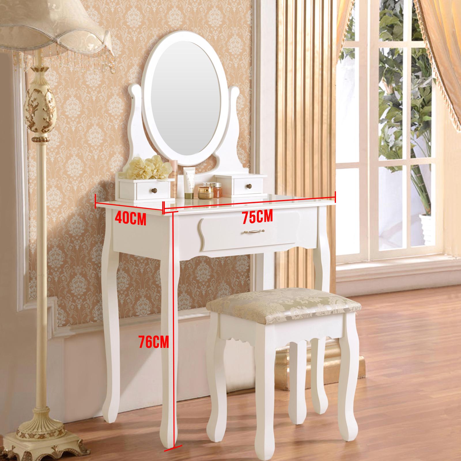 Uenjoy schminktisch wei kosmetiktisch mit hocker spiegel schubladen ebay for Schminktisch mit 3 spiegeln