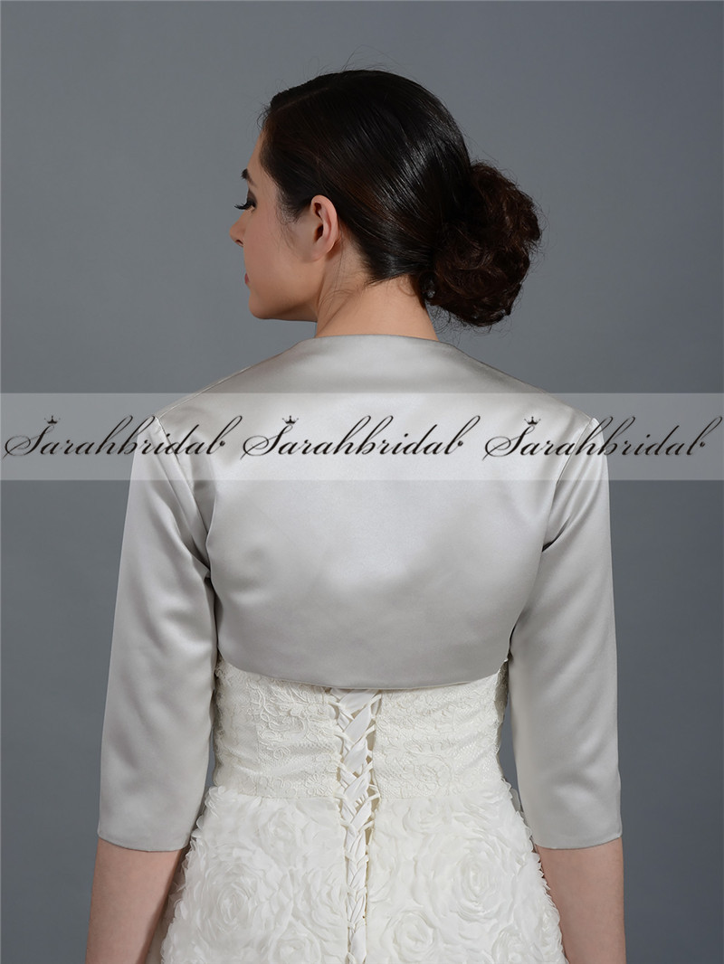 Ladies women 3 4 sleeve wedding bridal bolero jacket shrug for Womens dress jacket wedding