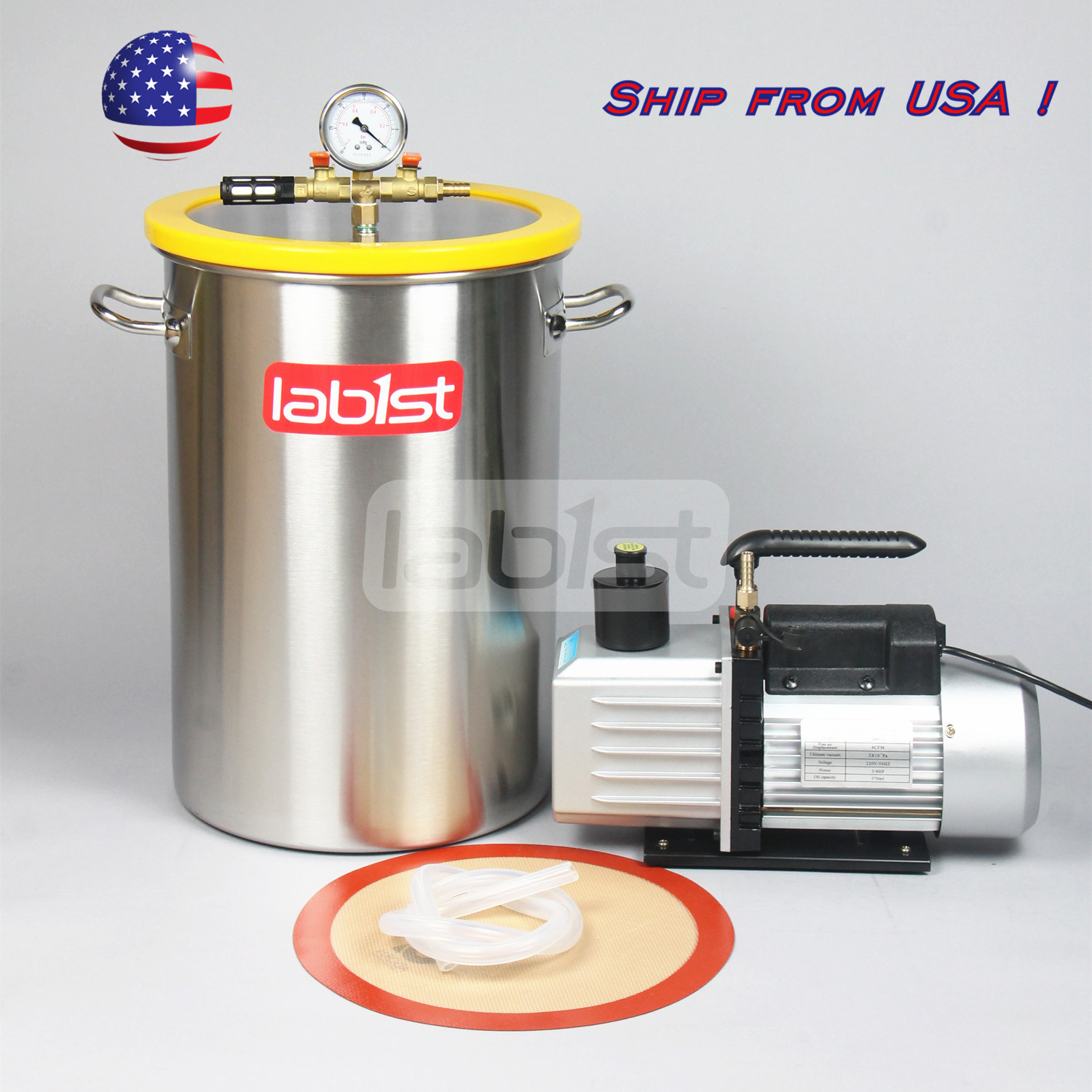 8 4gallon Stainless Steel Vacuum Degassing Chamber And 2