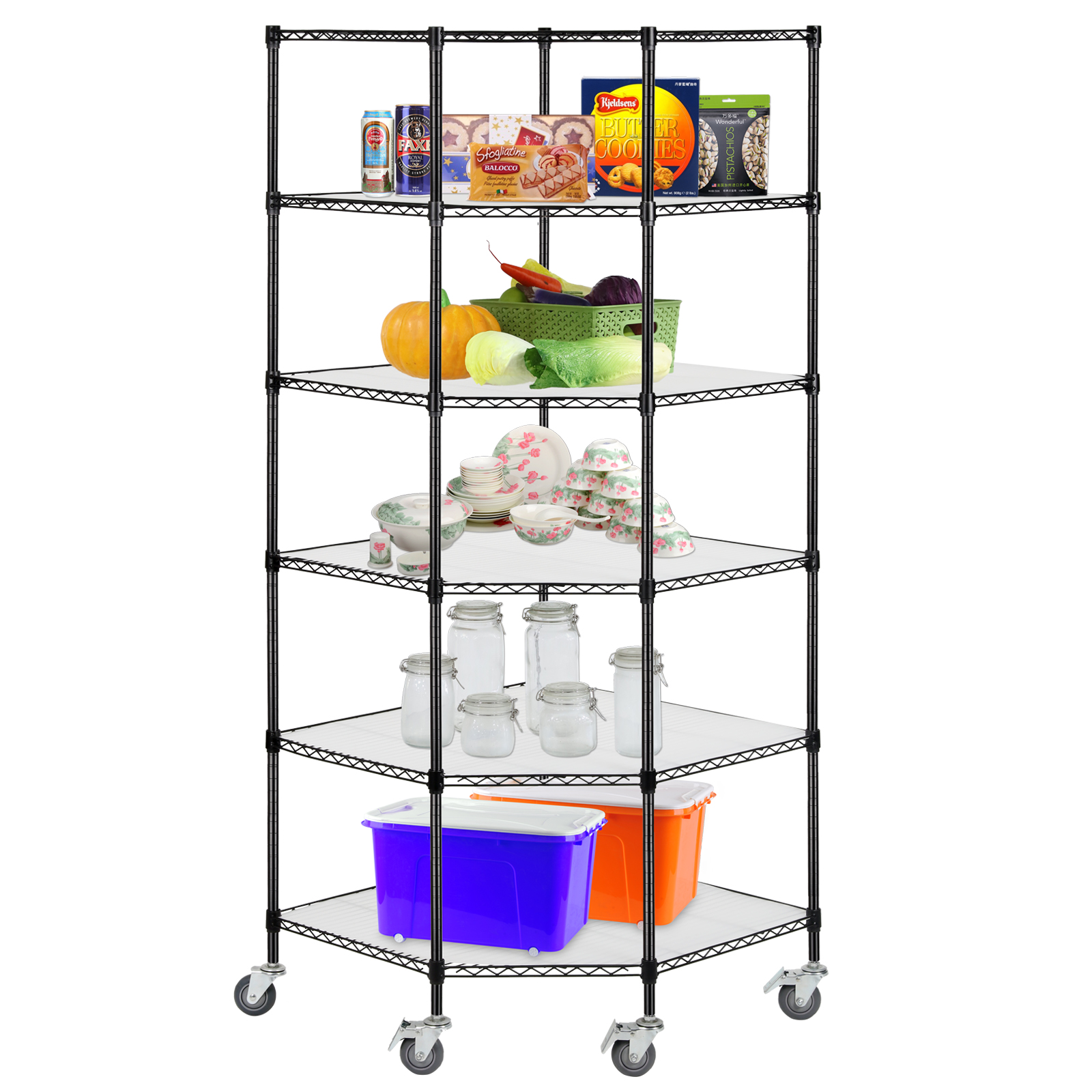 metal shelf rack adjustable 6 tier corner unit storage steel shelf wire 23277