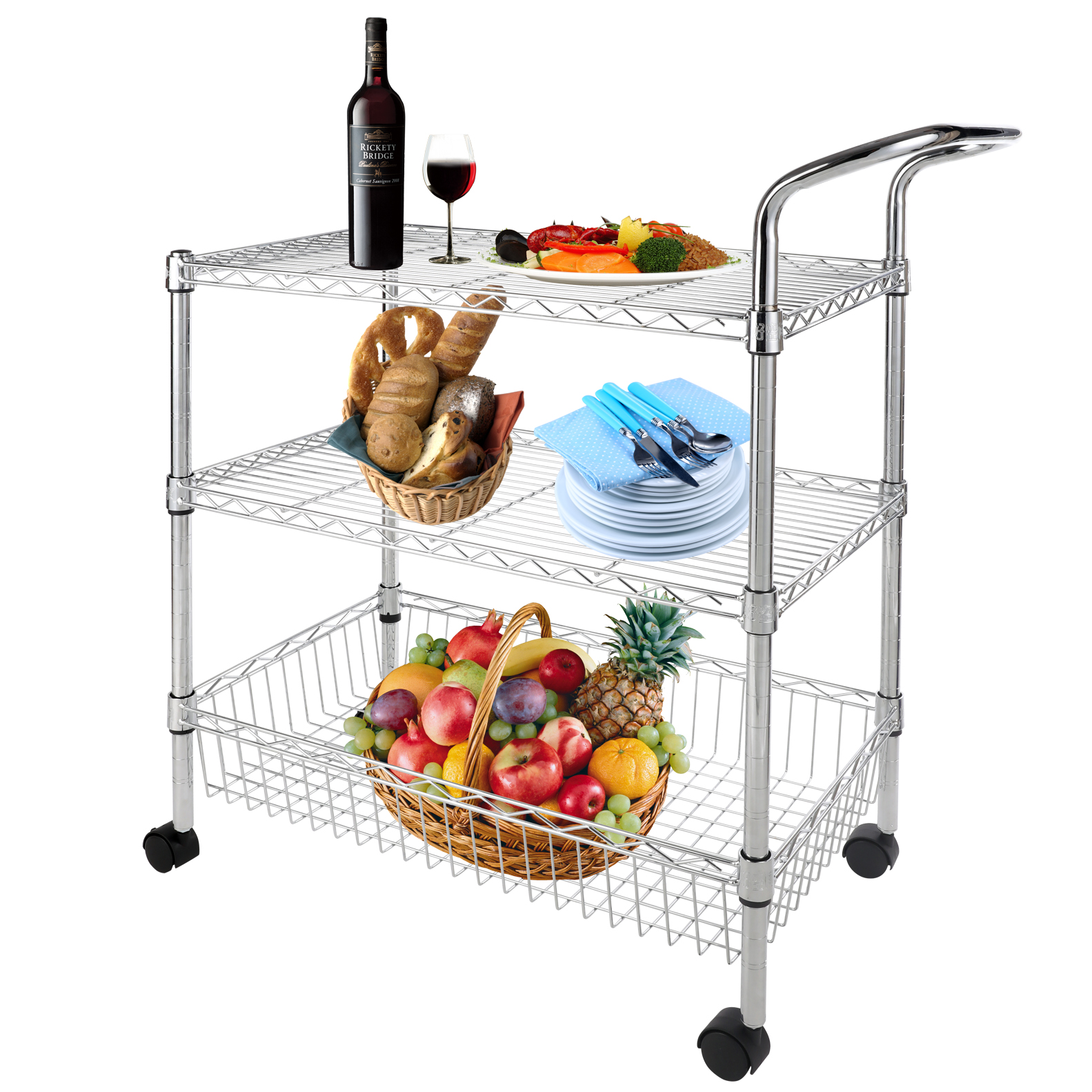 Wire Kitchen Cart: 3-Tier Wire Rolling Kitchen Utility Cart Trolley Rack Food