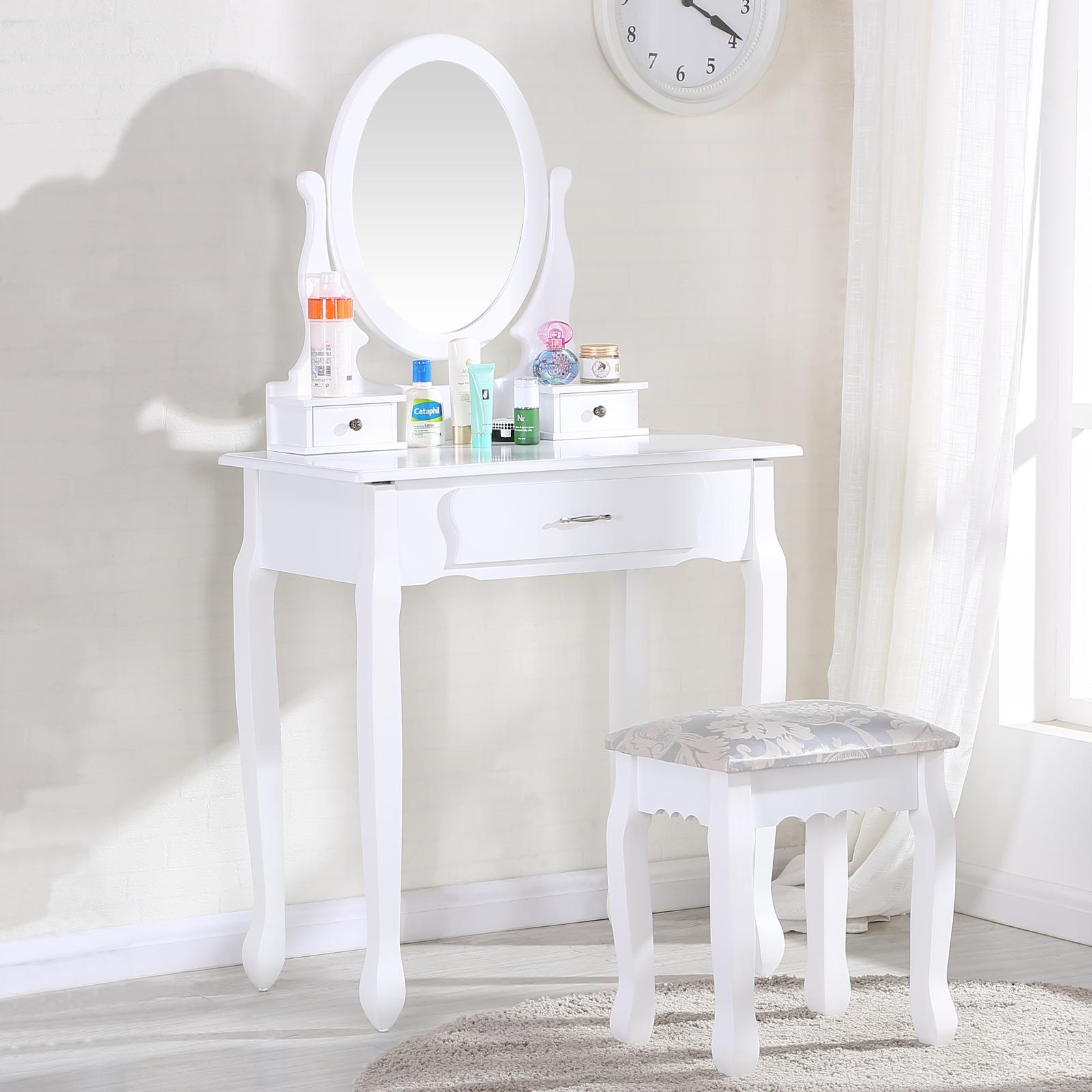 uenjoy schminktisch wei kosmetiktisch mit hocker spiegel 3 schubladen 613617444428 ebay. Black Bedroom Furniture Sets. Home Design Ideas