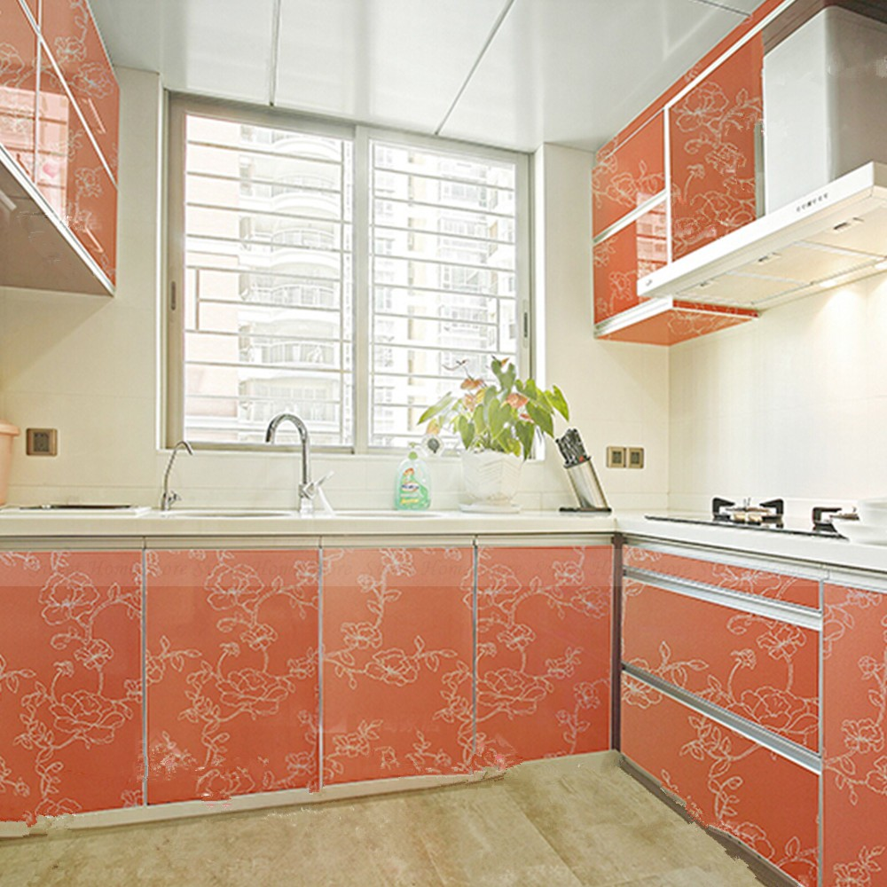 Orange Kitchen Cupboard Doors Cover Sticker Self Adhesive Vinyl Contact Paper