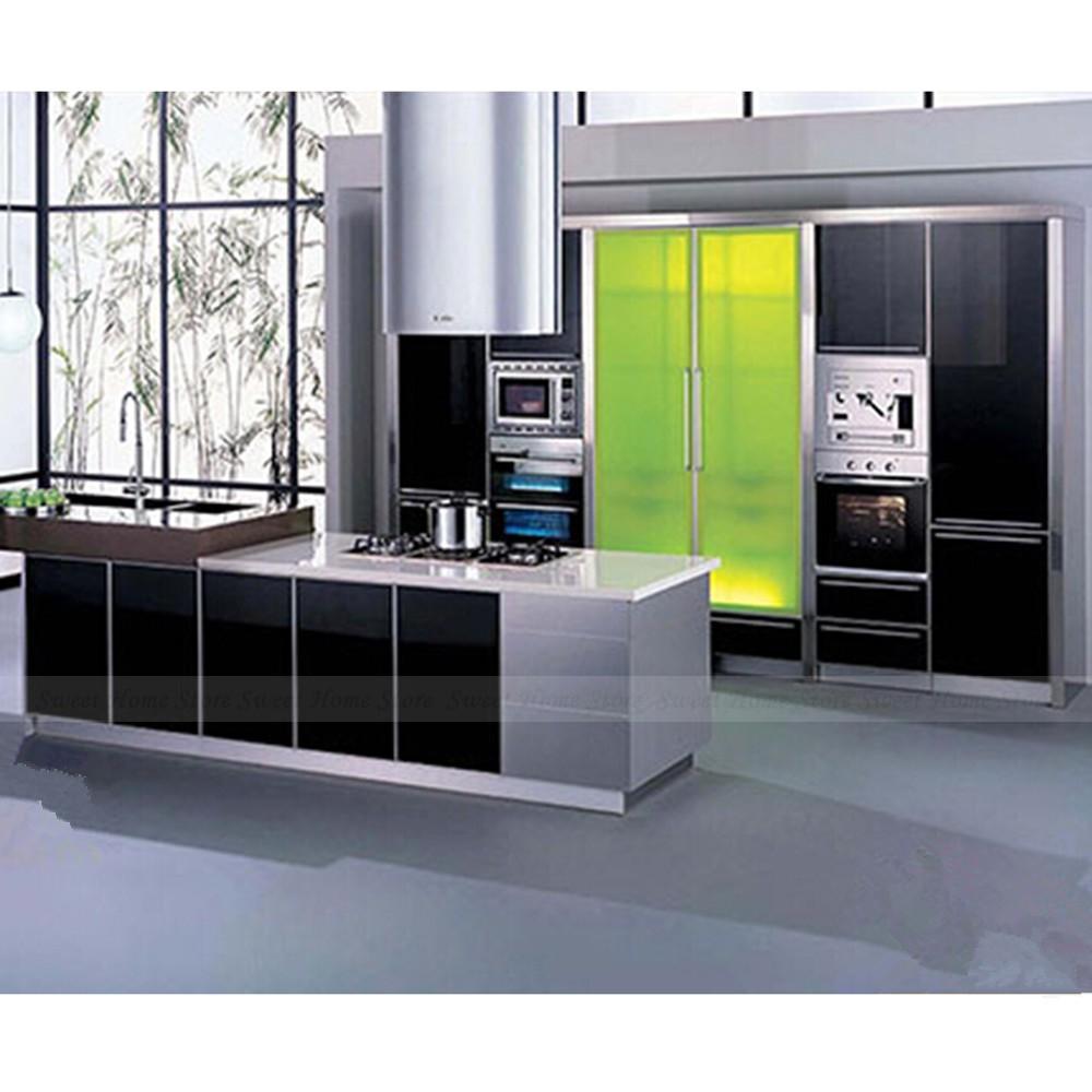 Yazi black contact paper vinyl self adhesive cupboard door for Vinyl paper for kitchen cabinets