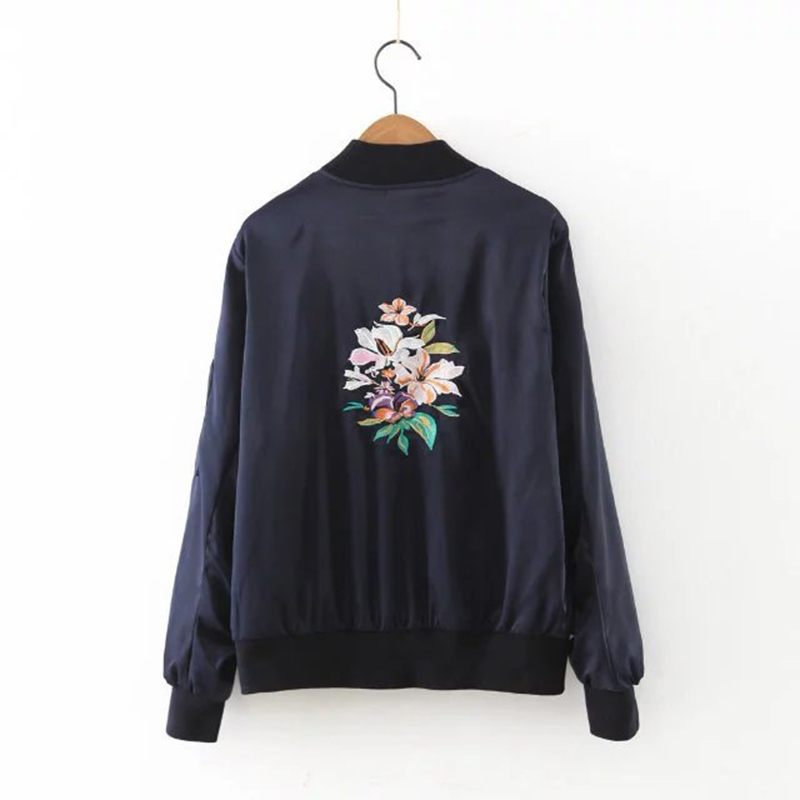 Women Navy Rose Embroidered Bomber Jacket Baseball Zip Up