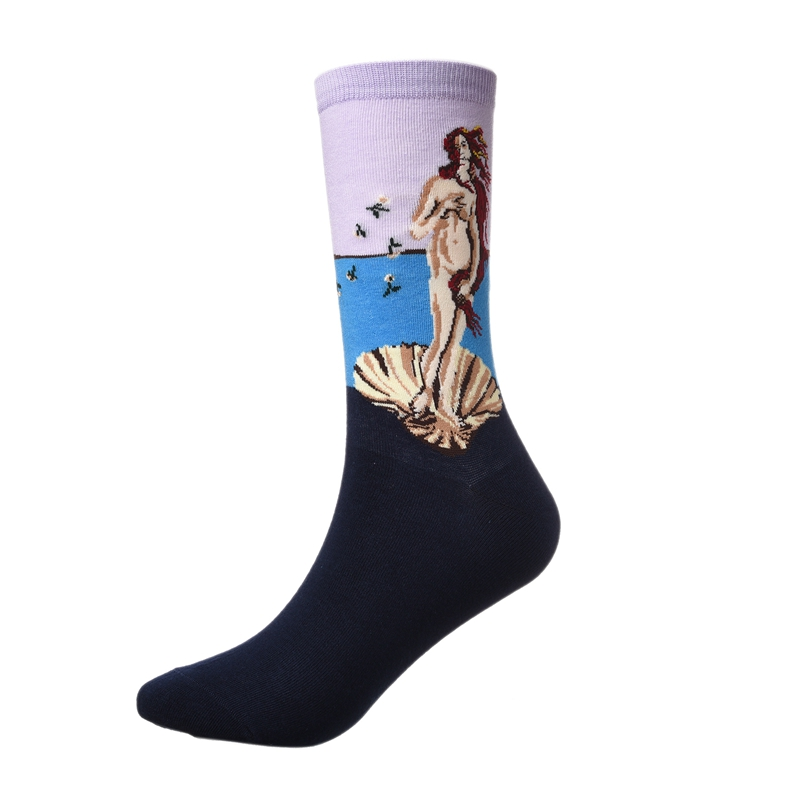Men S Sports Cotton Socks Funny Abstract Oil Painting