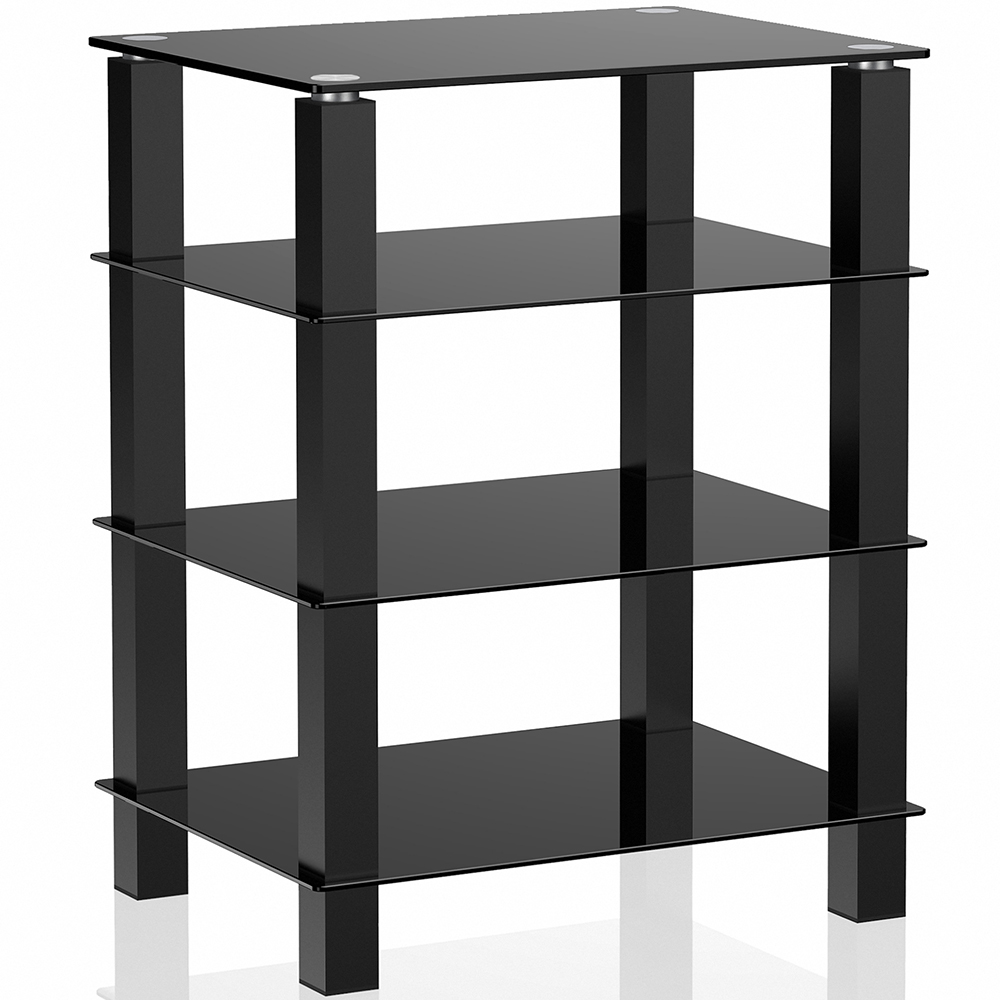 4 tier media component stand audio cabinet with glass shelf for apple tv xbox ebay. Black Bedroom Furniture Sets. Home Design Ideas