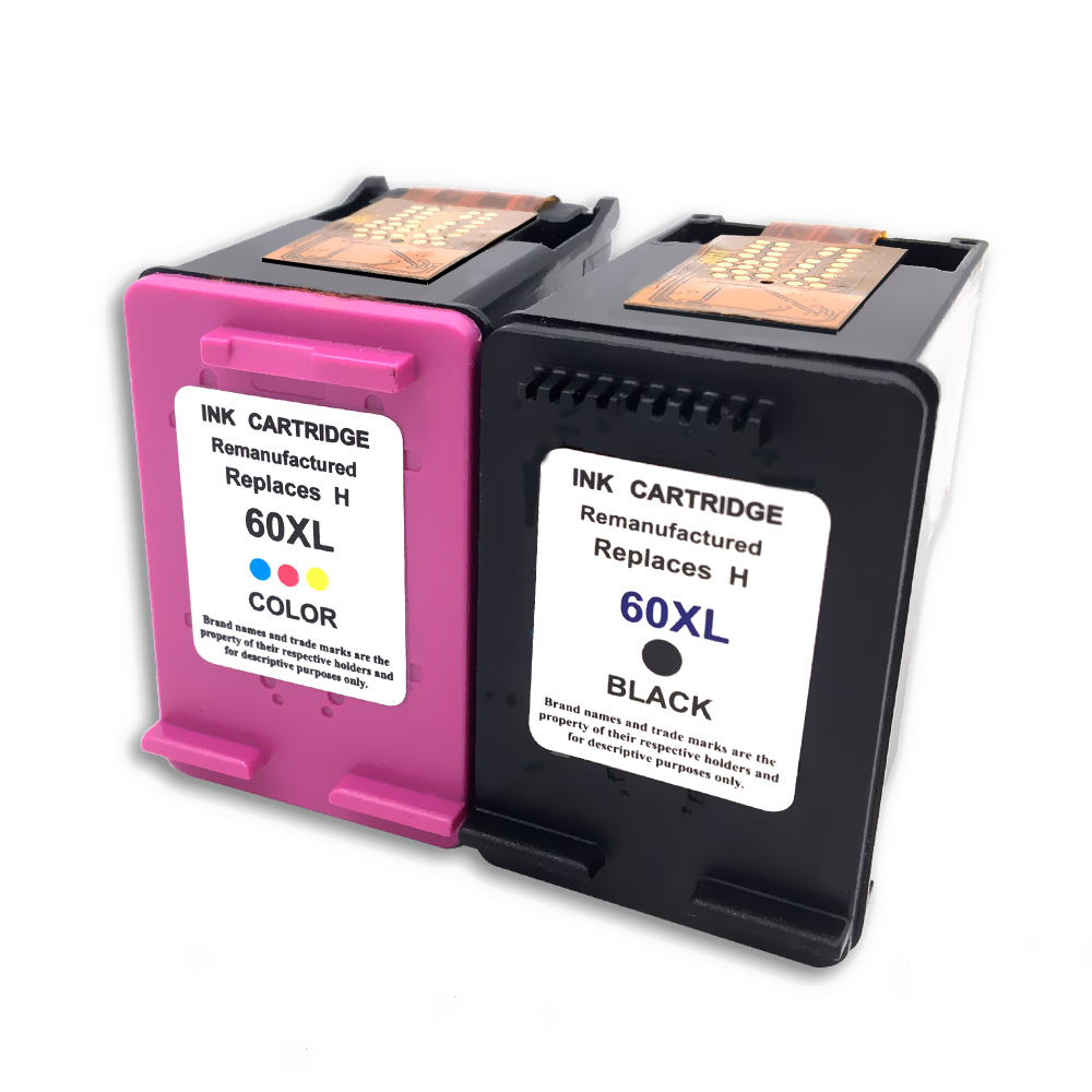 2 pack 60xl 60 xl ink cartridge cc641wn cc644wn for hp. Black Bedroom Furniture Sets. Home Design Ideas