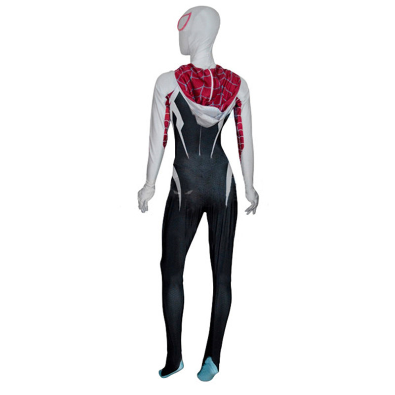 Spider Gwen Stacy Spandex Zentai Female Spiderman Costume ...