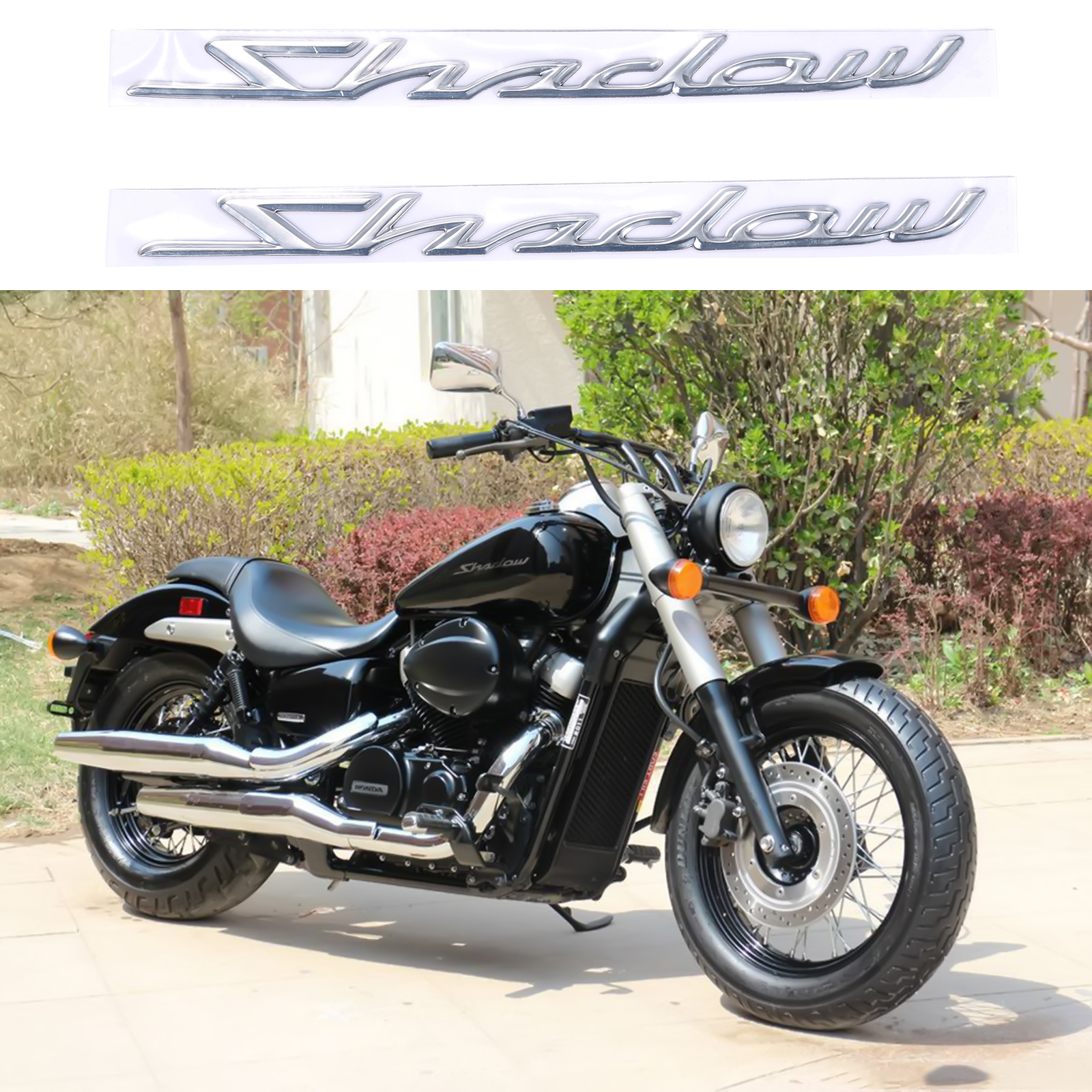 motorcycle 3d chrome abs gas tank decal sticker decal sticker for honda shadow ebay. Black Bedroom Furniture Sets. Home Design Ideas