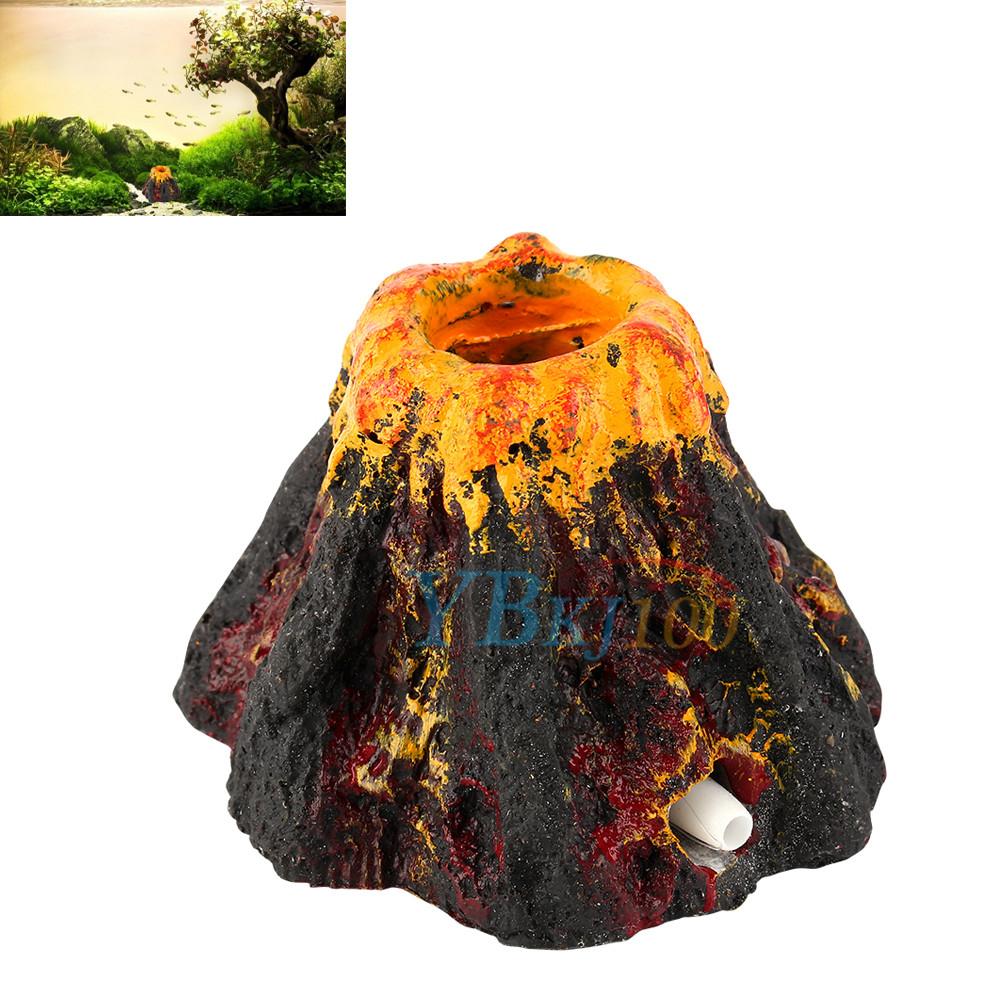 Aquarium decoration resin mini volcano air stone pump for Aquarium volcano decoration