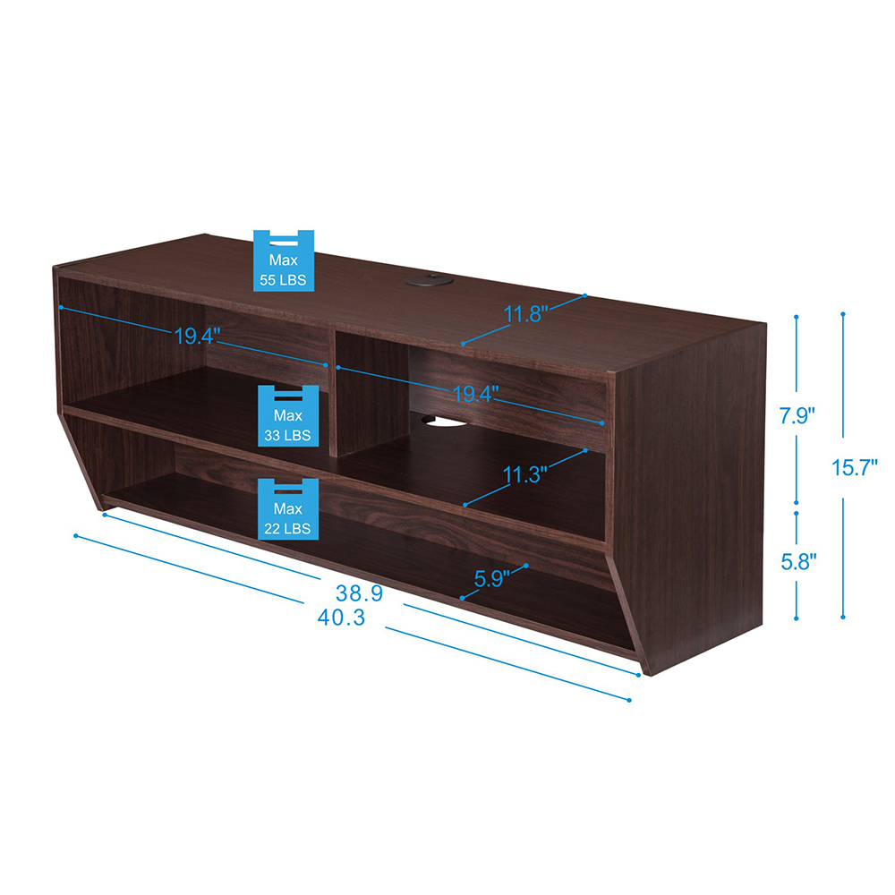 40inch 2 shelf wall mount floating media console. Black Bedroom Furniture Sets. Home Design Ideas