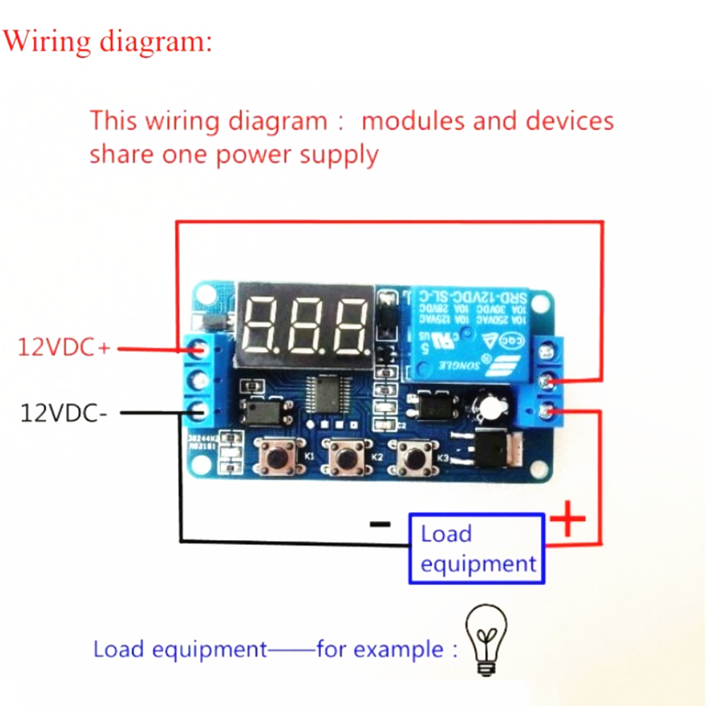 Style 2:DC 12V LED Display Digital Delay Timer Control Switch Module PLC  Automation